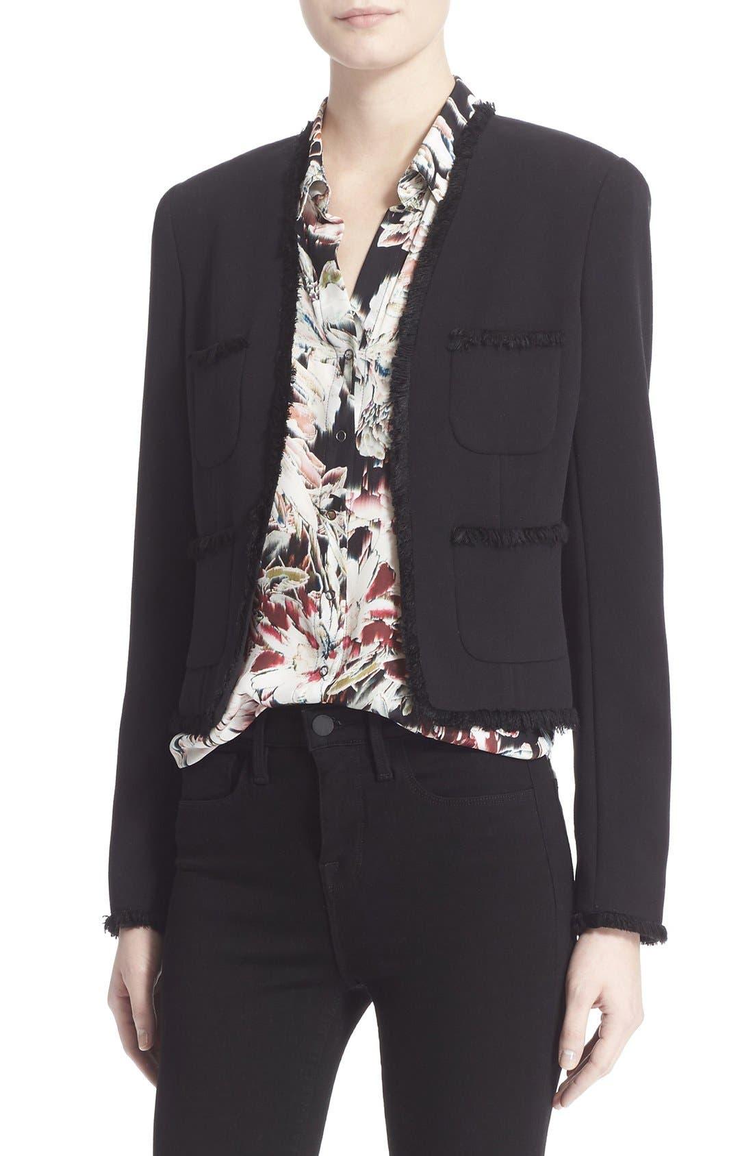 Main Image - L'AGENCE Fringe Trim Tailored Jacket