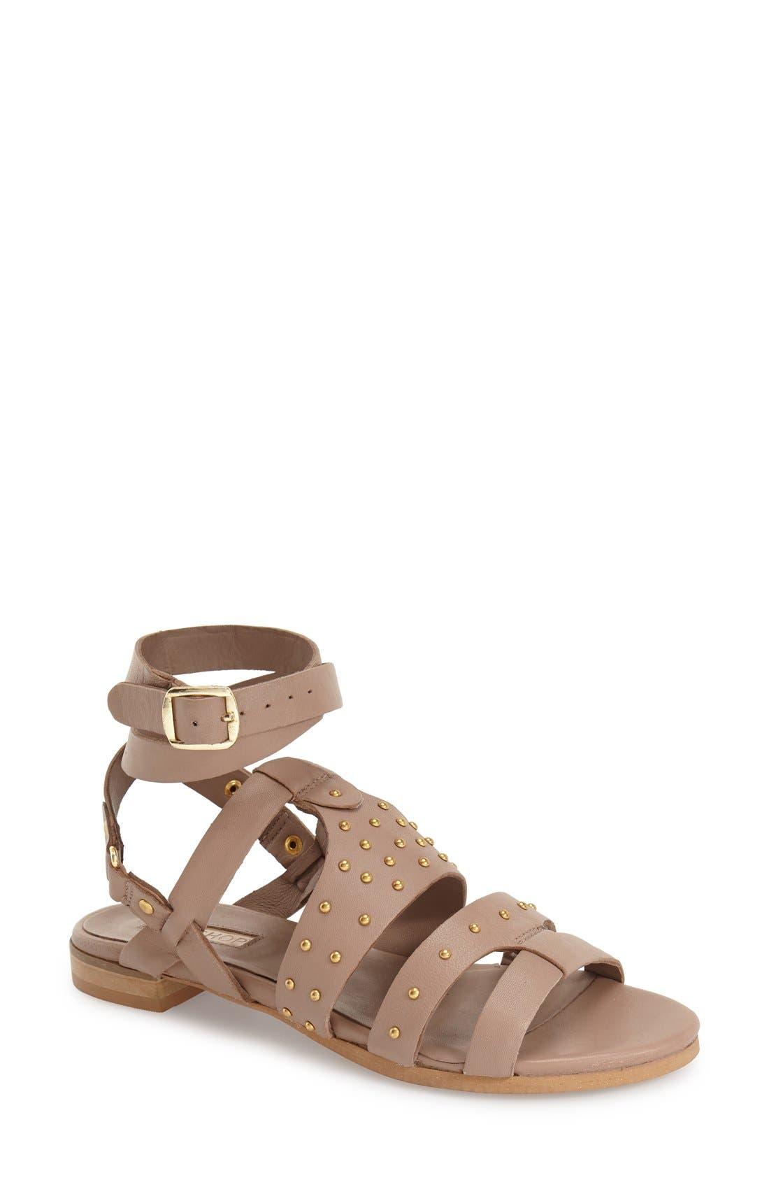 Alternate Image 1 Selected - Topshop 'Flame' Stud Wraparound Ankle Strap Sandal (Women)