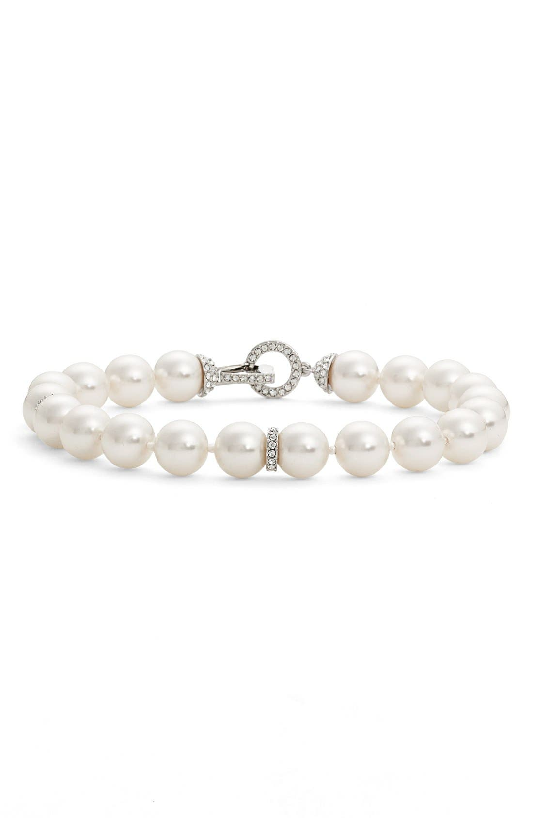 Single Row Imitation Pearl Bracelet,                         Main,                         color, Ivory