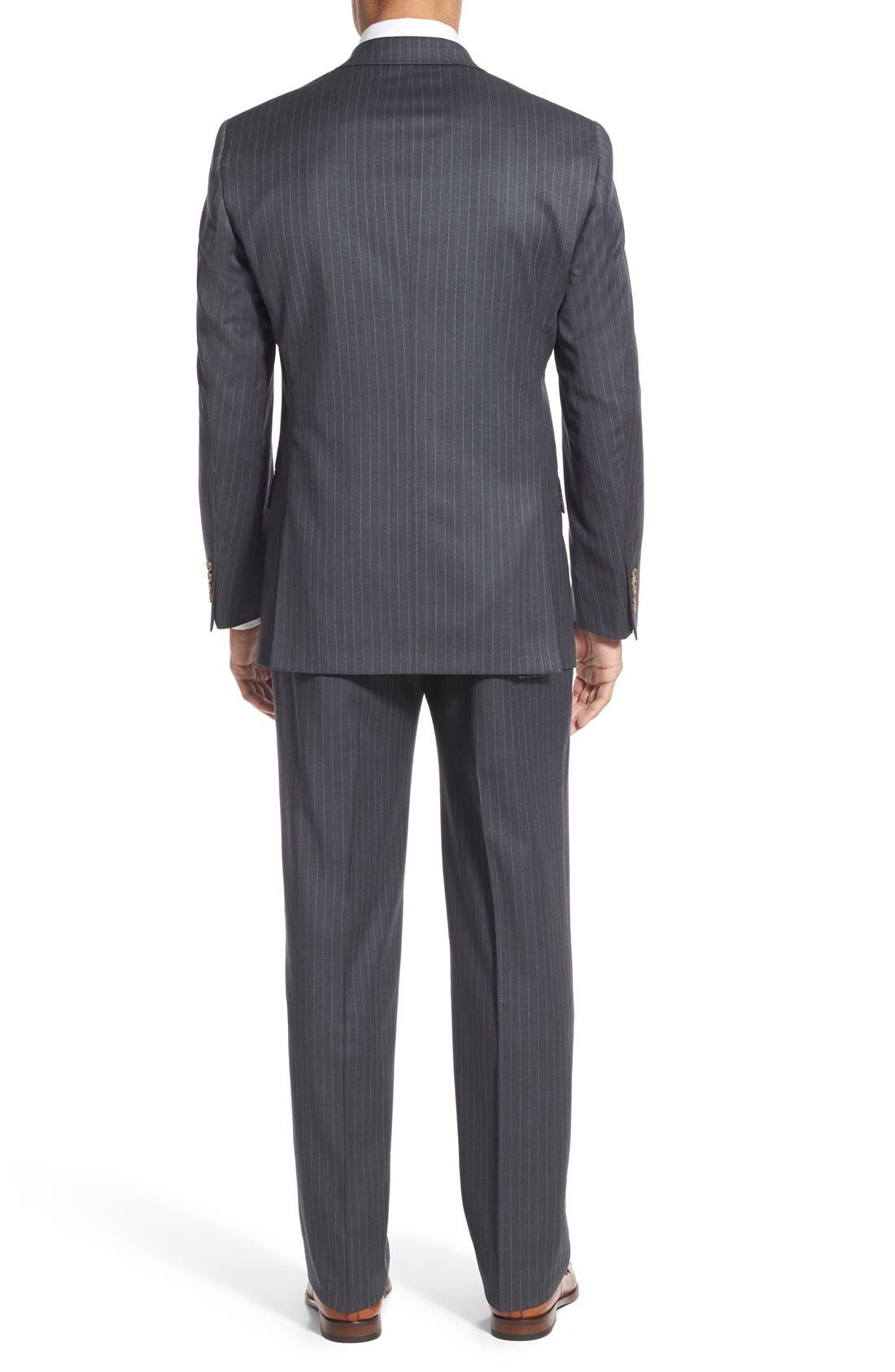 New York Classic Fit Stripe Wool Suit,                             Alternate thumbnail 2, color,                             Grey
