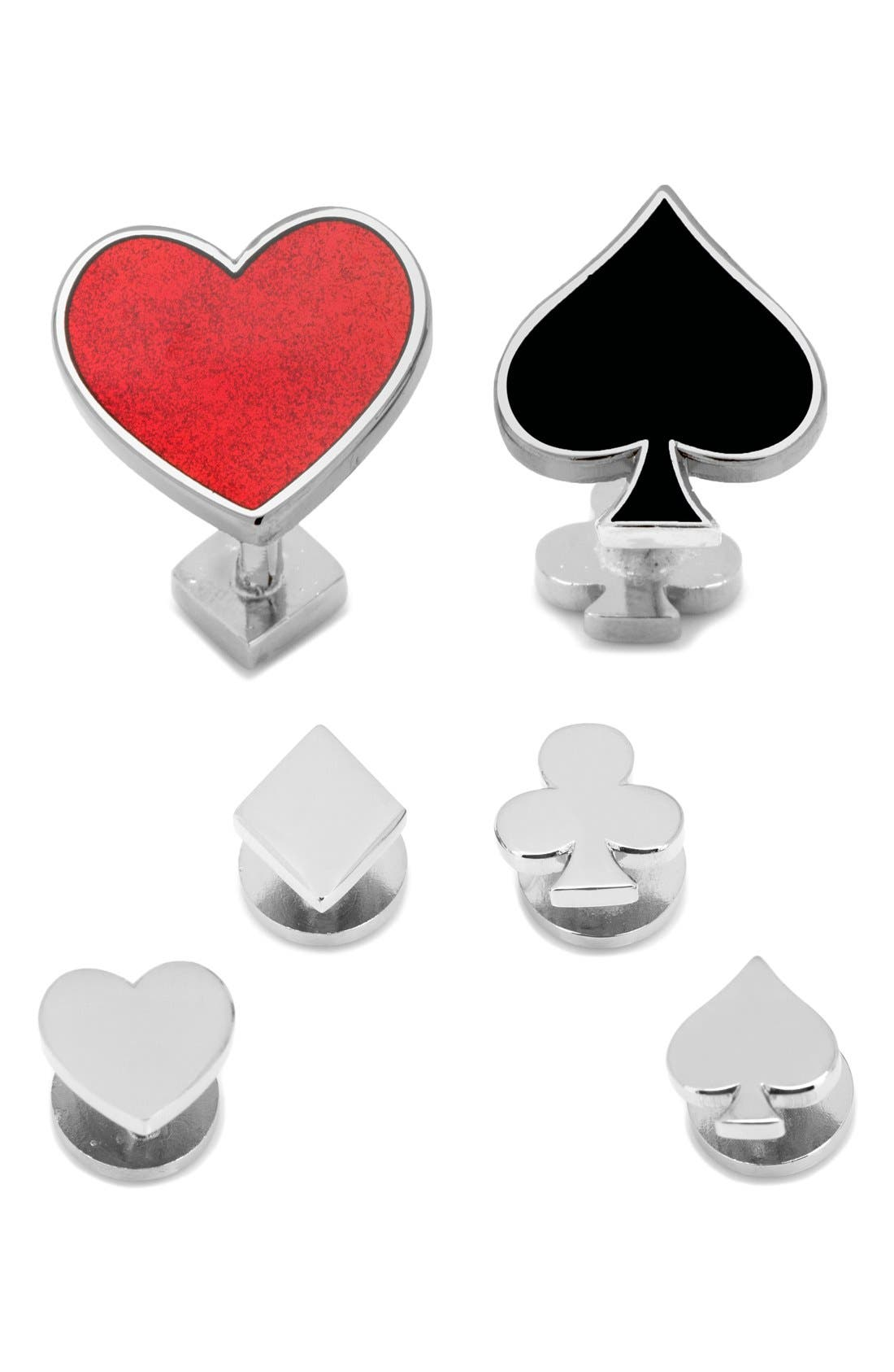 Ox and Bull Trading Co. 'Card Suit' Cuff Links & Shirt Studs Set