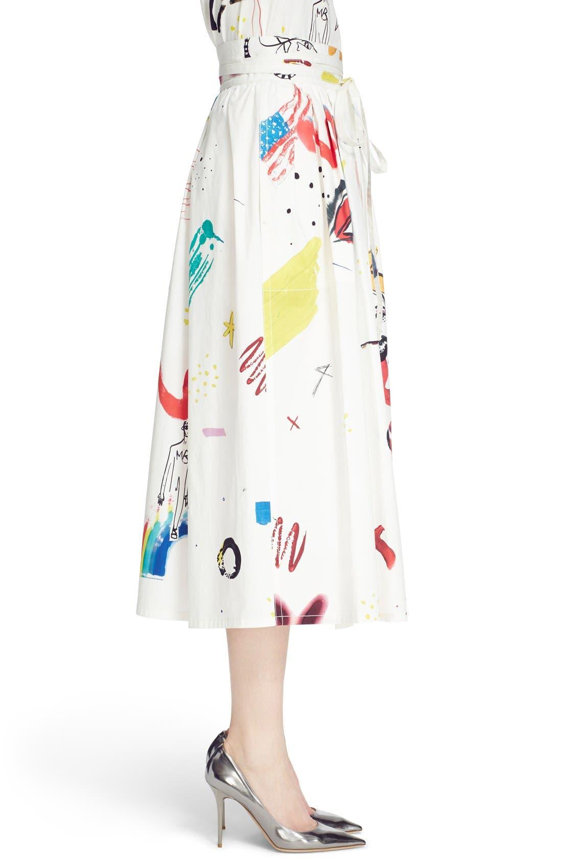 Collage Print Wrap Midi Skirt,                             Alternate thumbnail 4, color,                             Multi