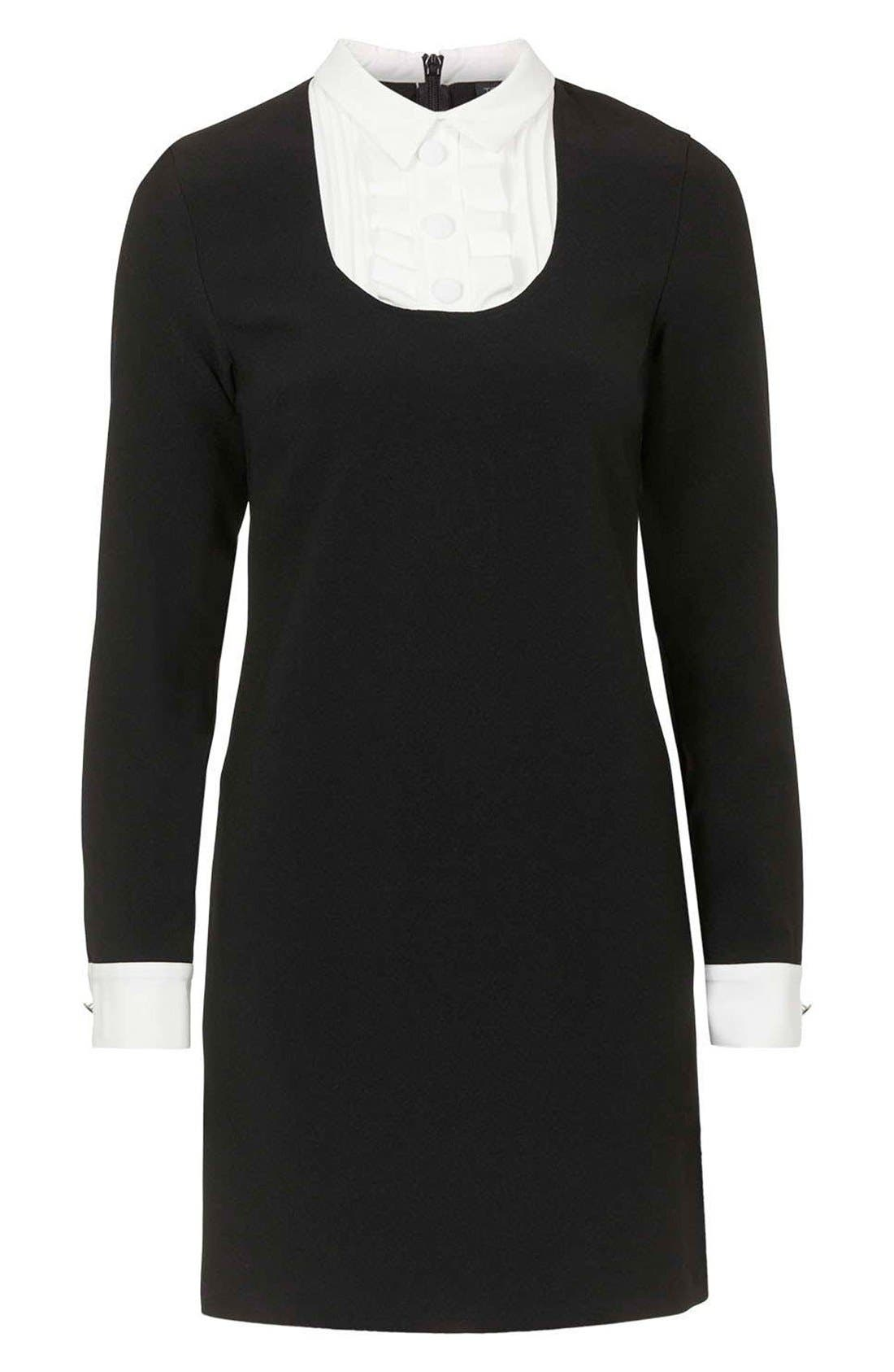 Ruffle Bib Shift Dress,                             Alternate thumbnail 4, color,                             Black Multi