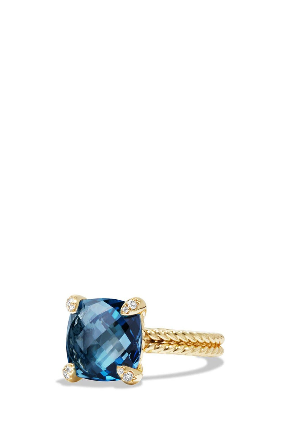 Châtelaine Ring with Hampton Blue Topaz and Diamonds in 18K Gold,                         Main,                         color, Hampton Blue Topaz
