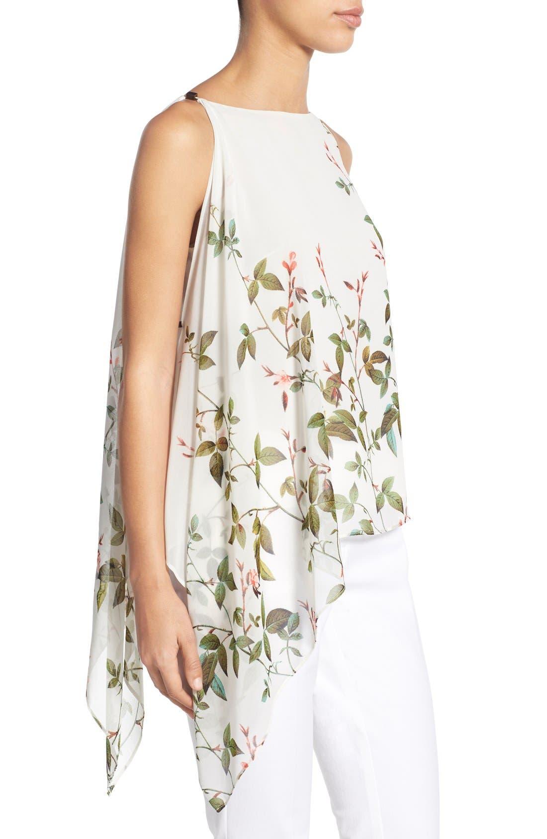 Alternate Image 3  - Adrianna Papell Floral Print Asymmetrical Chiffon Blouse