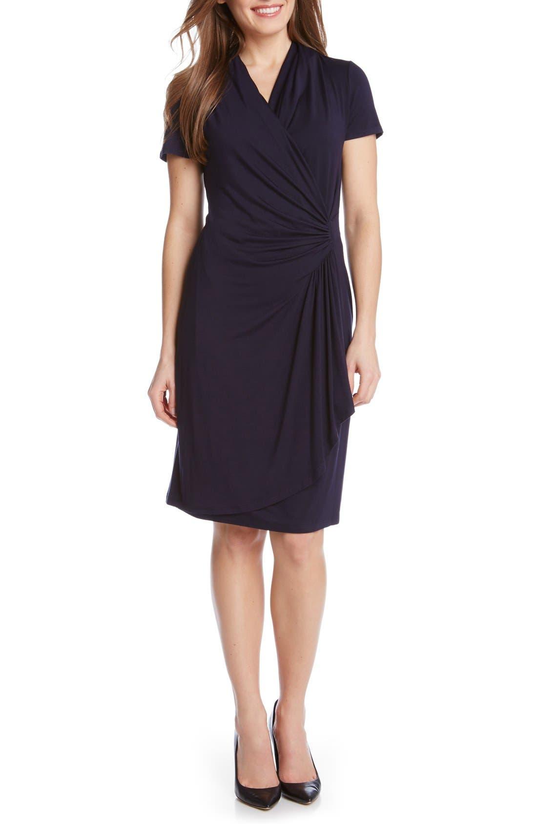 KAREN KANE Short Sleeve Jersey Cascade Faux Wrap Dress