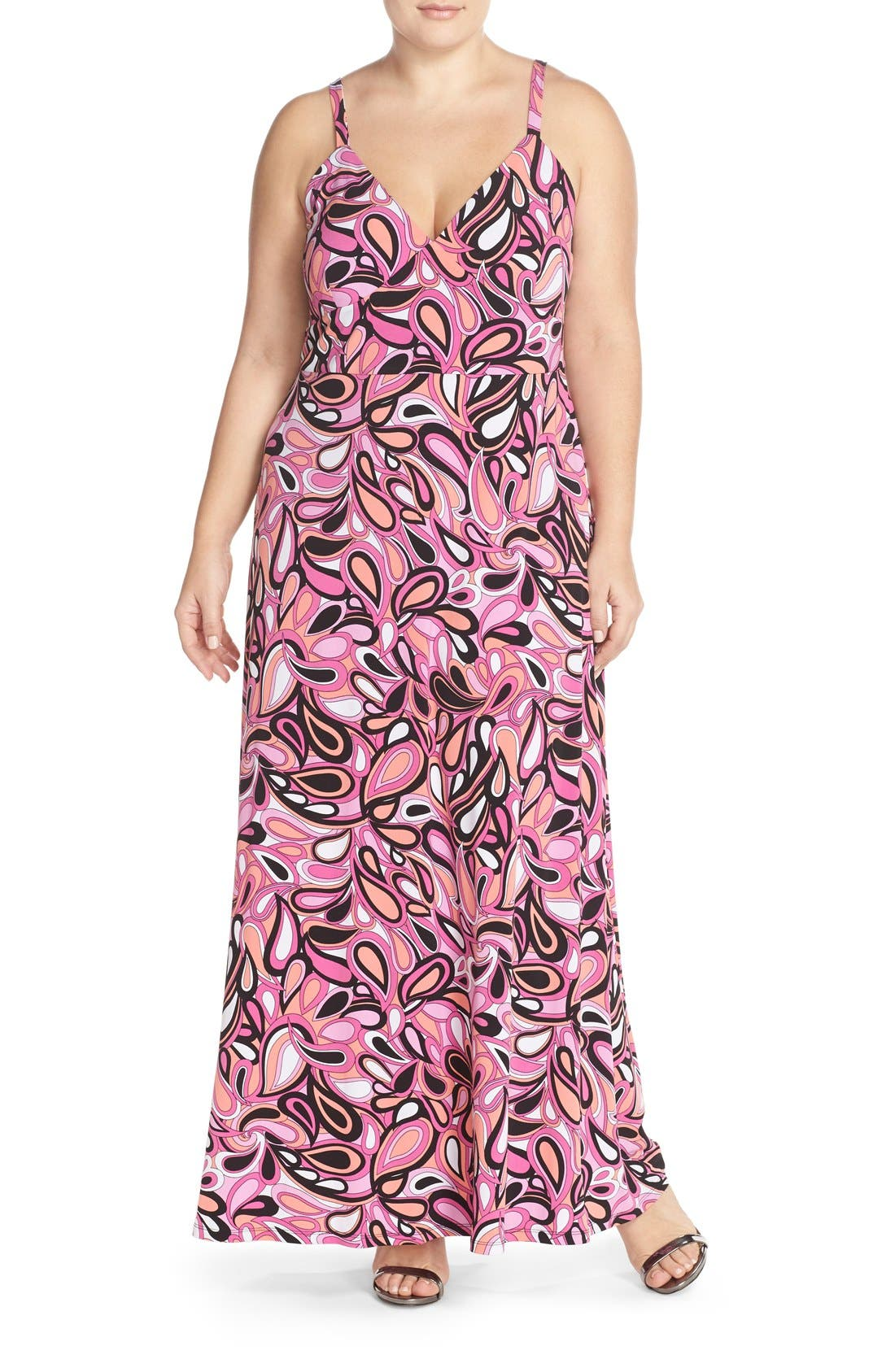 MICHAEL Michael Kors 'Calabasas' Paisley Print Jersey A-Line Maxi Dress (Plus Size)