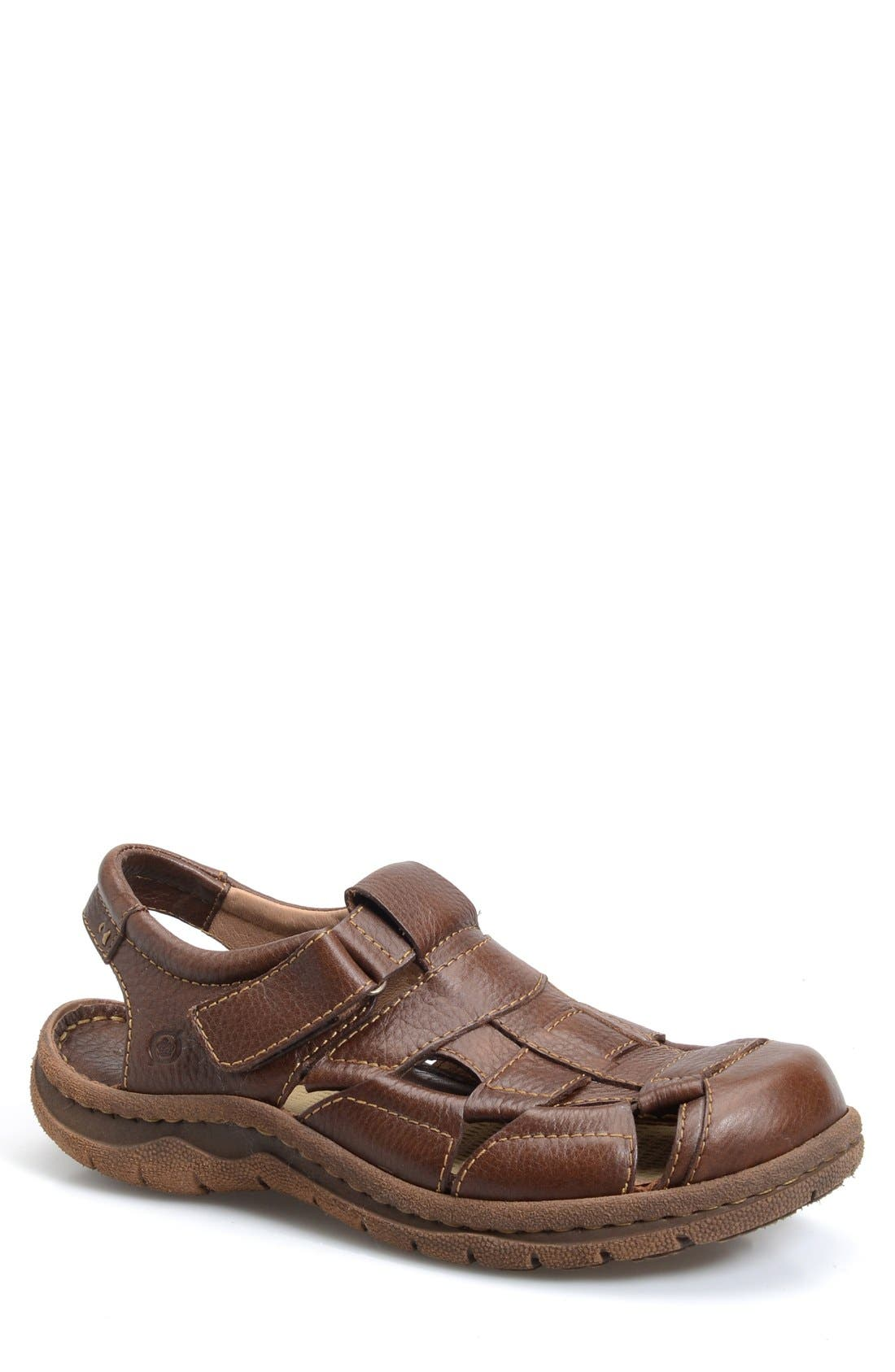 'Cabot II' Sandal,                             Main thumbnail 1, color,                             Brown Leather
