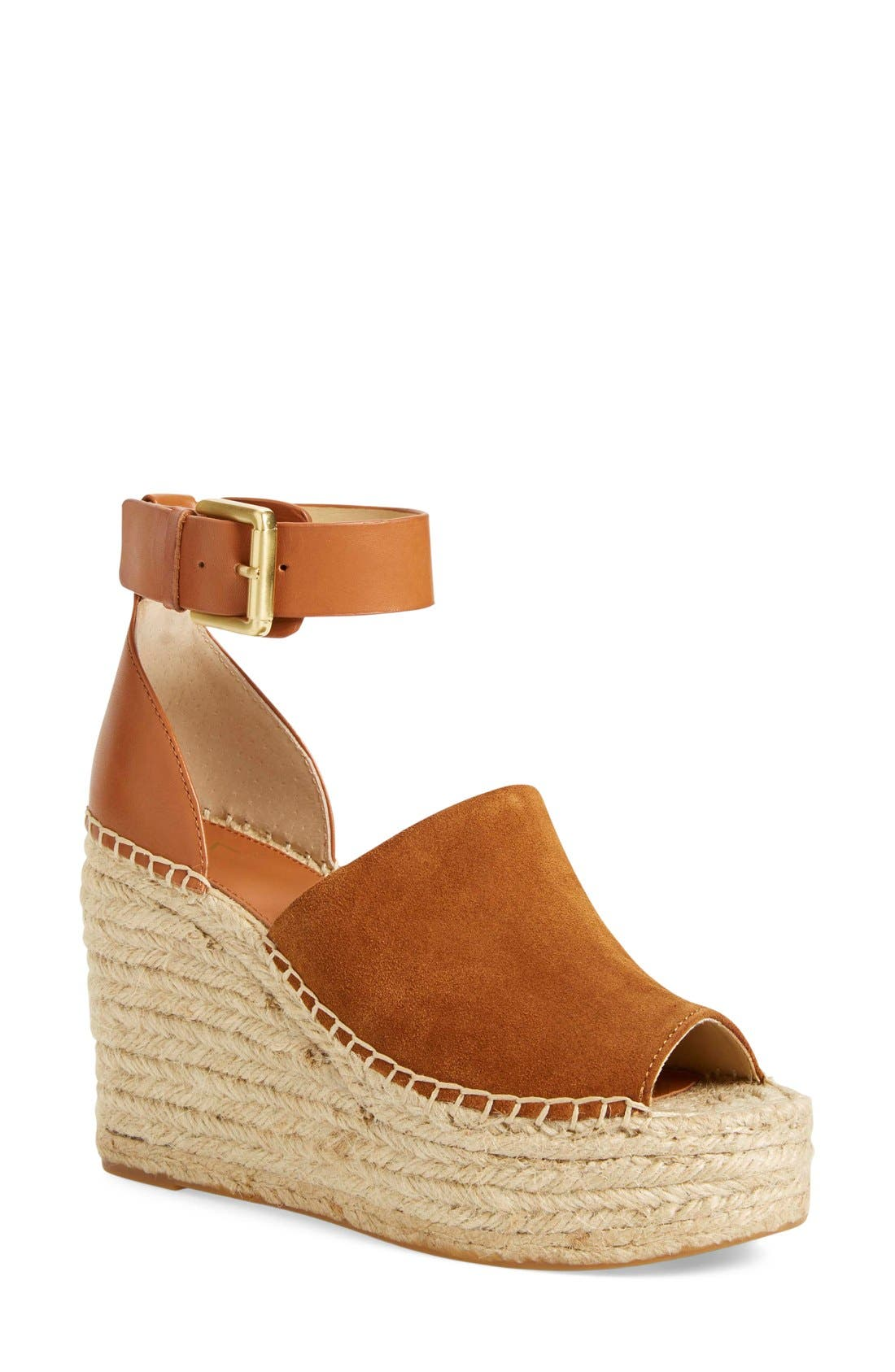 'Adalyn' Espadrille Wedge Sandal,                             Main thumbnail 1, color,                             Tan/ Saddle