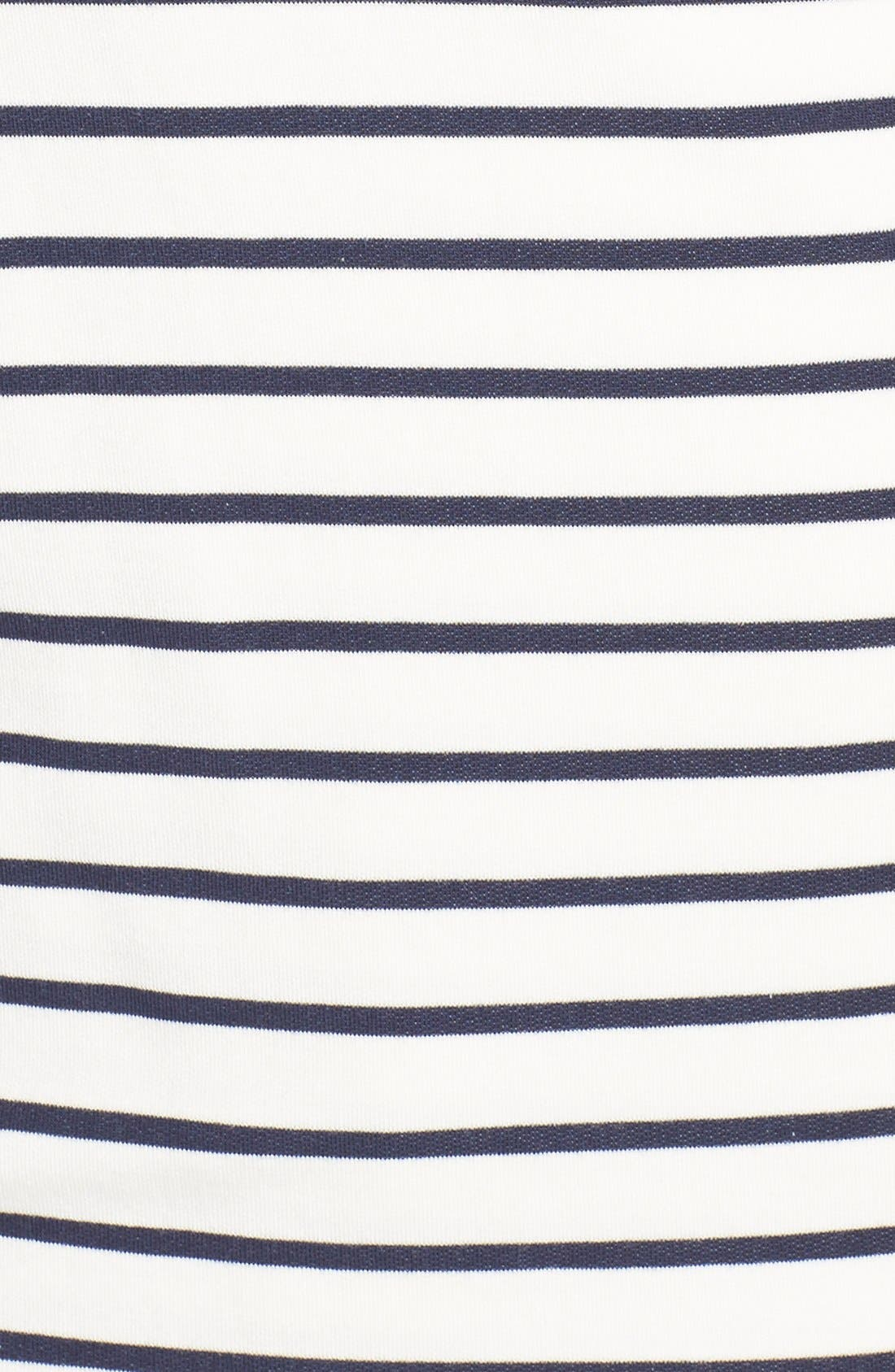 'Julian' Stripe French Terry Surplice Top,                             Alternate thumbnail 5, color,                             White/ Navy