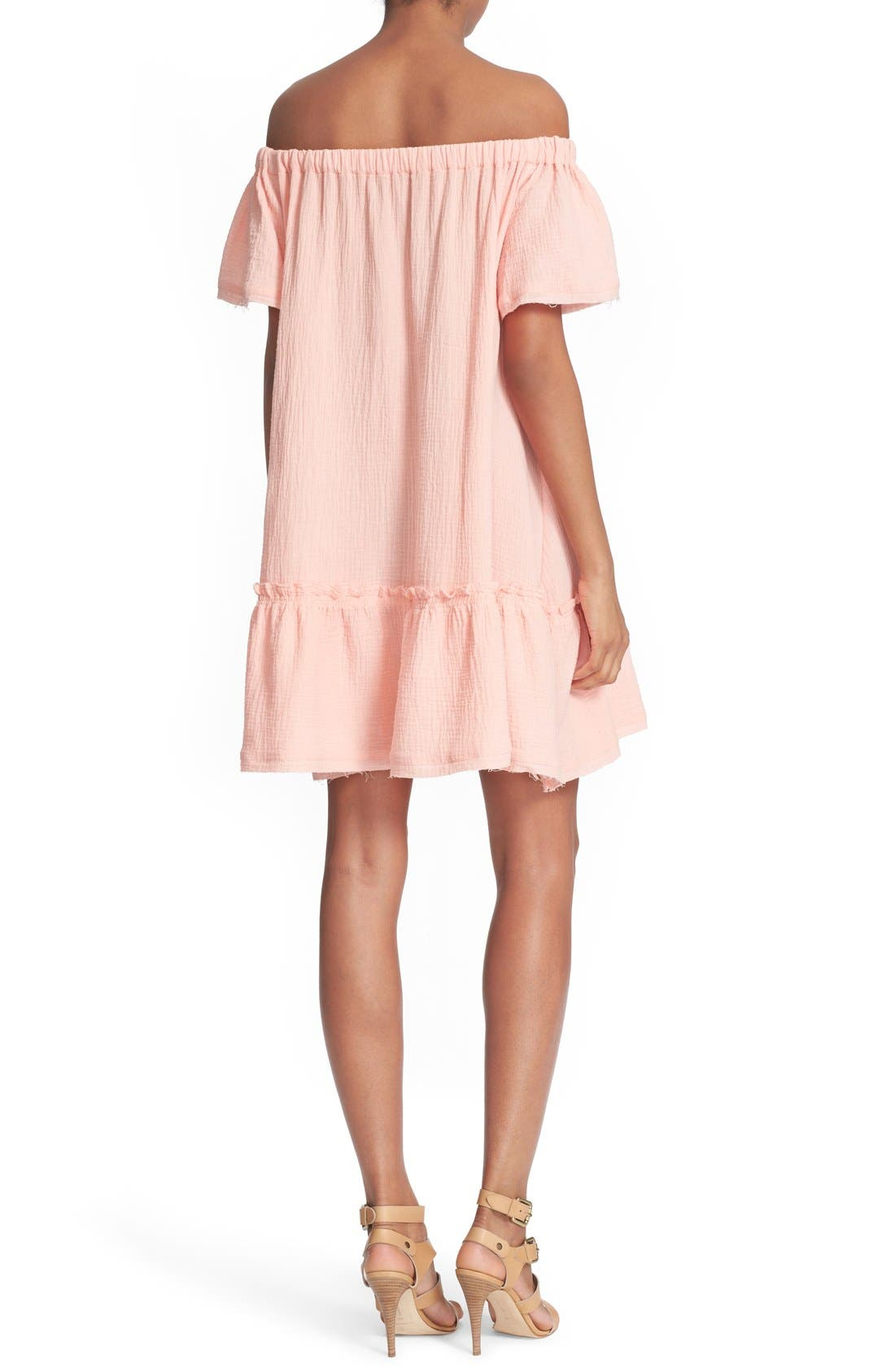 Alternate Image 2  - Rebecca Taylor Off the Shoulder Cotton Swing Dress