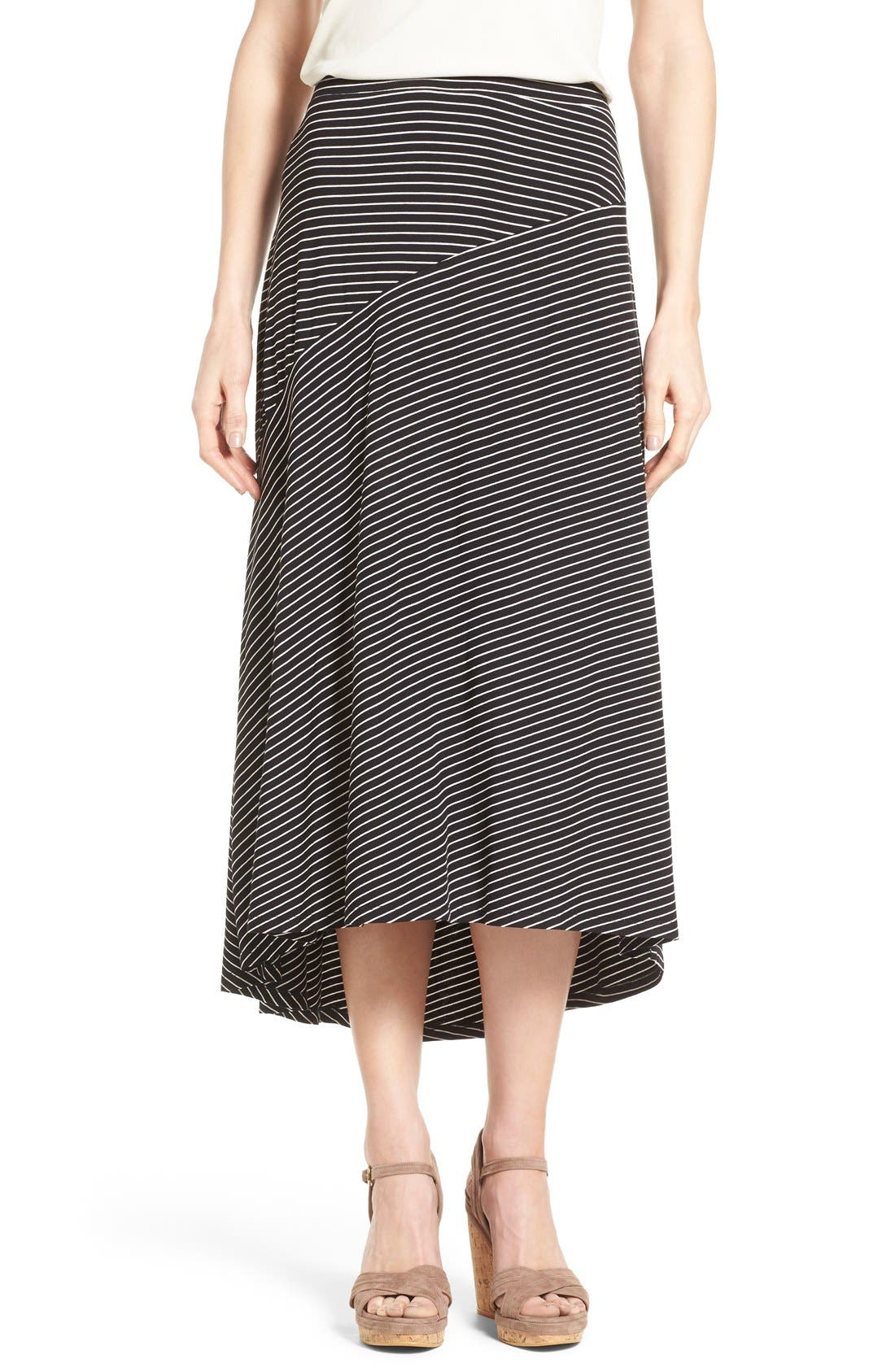 Main Image - Chaus 'Pool Stripe' Asymmetrical Maxi Skirt