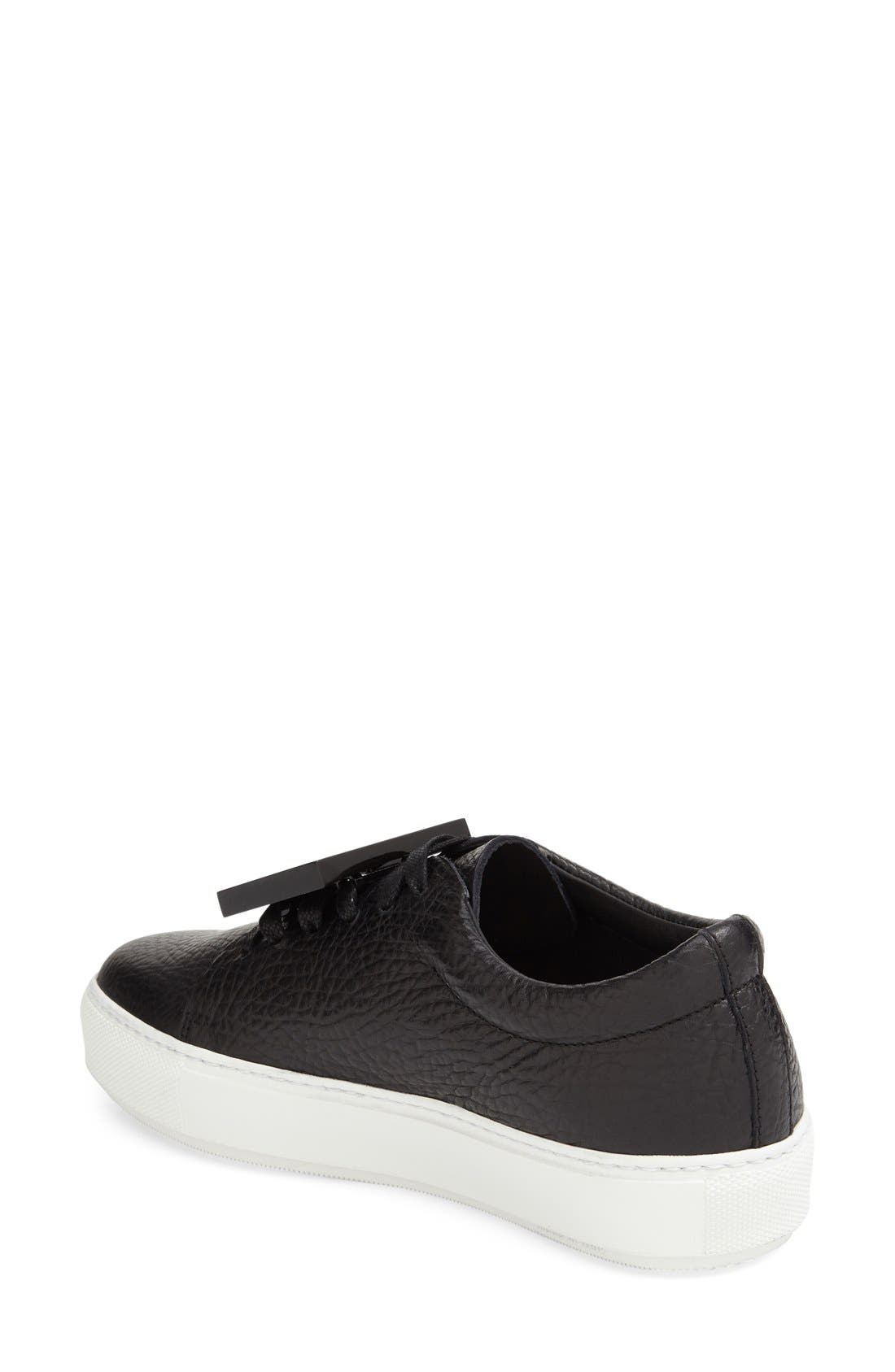 Adriana - Grain Leather Sneaker,                             Alternate thumbnail 2, color,                             Black Leather