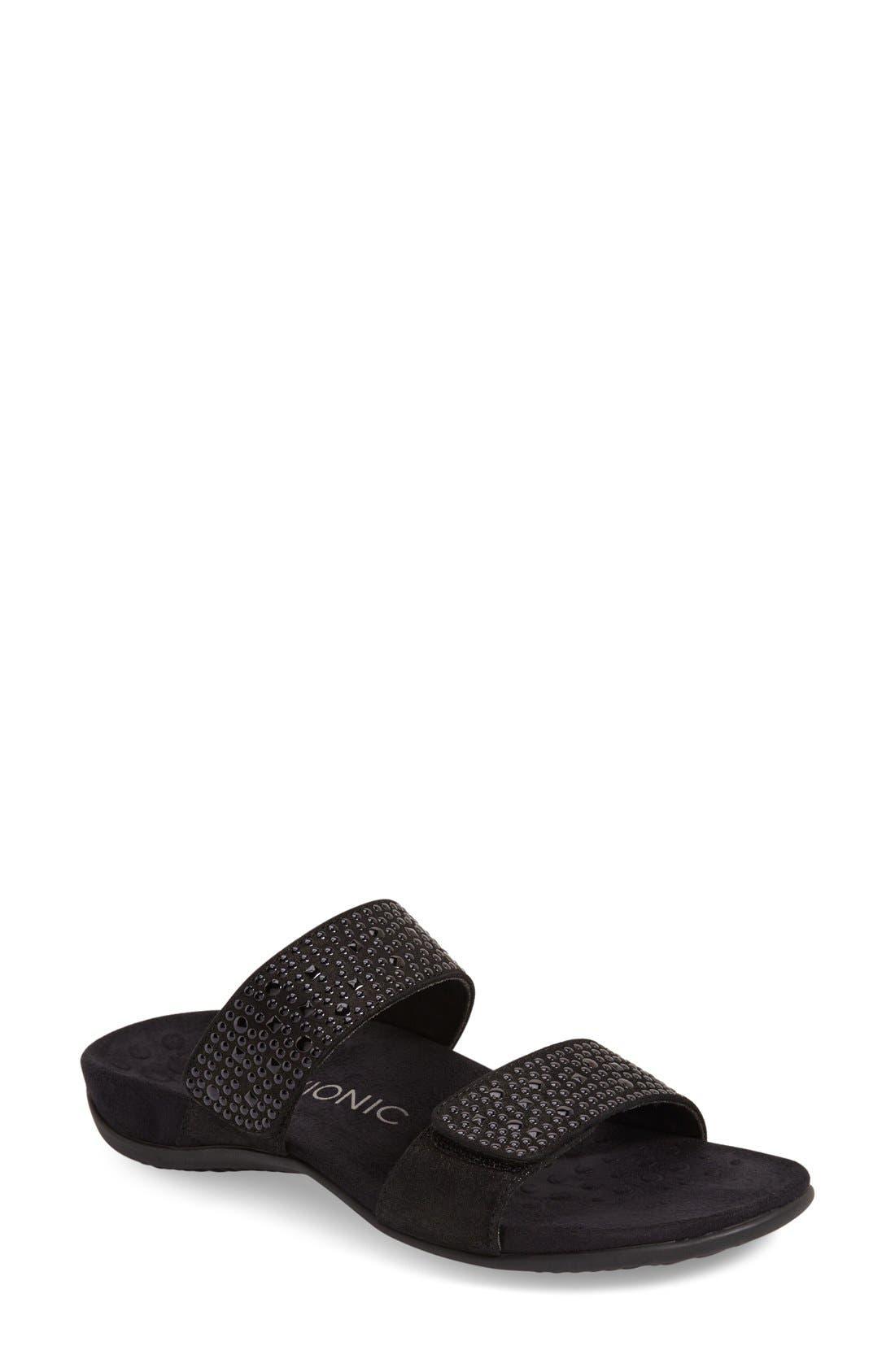 'Samoa' Sandal,                             Main thumbnail 1, color,                             Black Leather