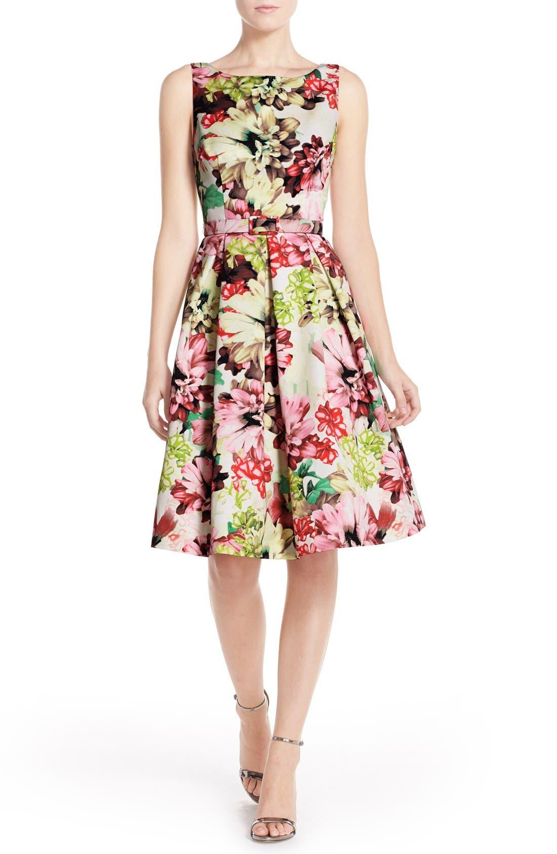 Alternate Image 4  - Eliza J Belted Floral Print Faille Fit & Flare Dress