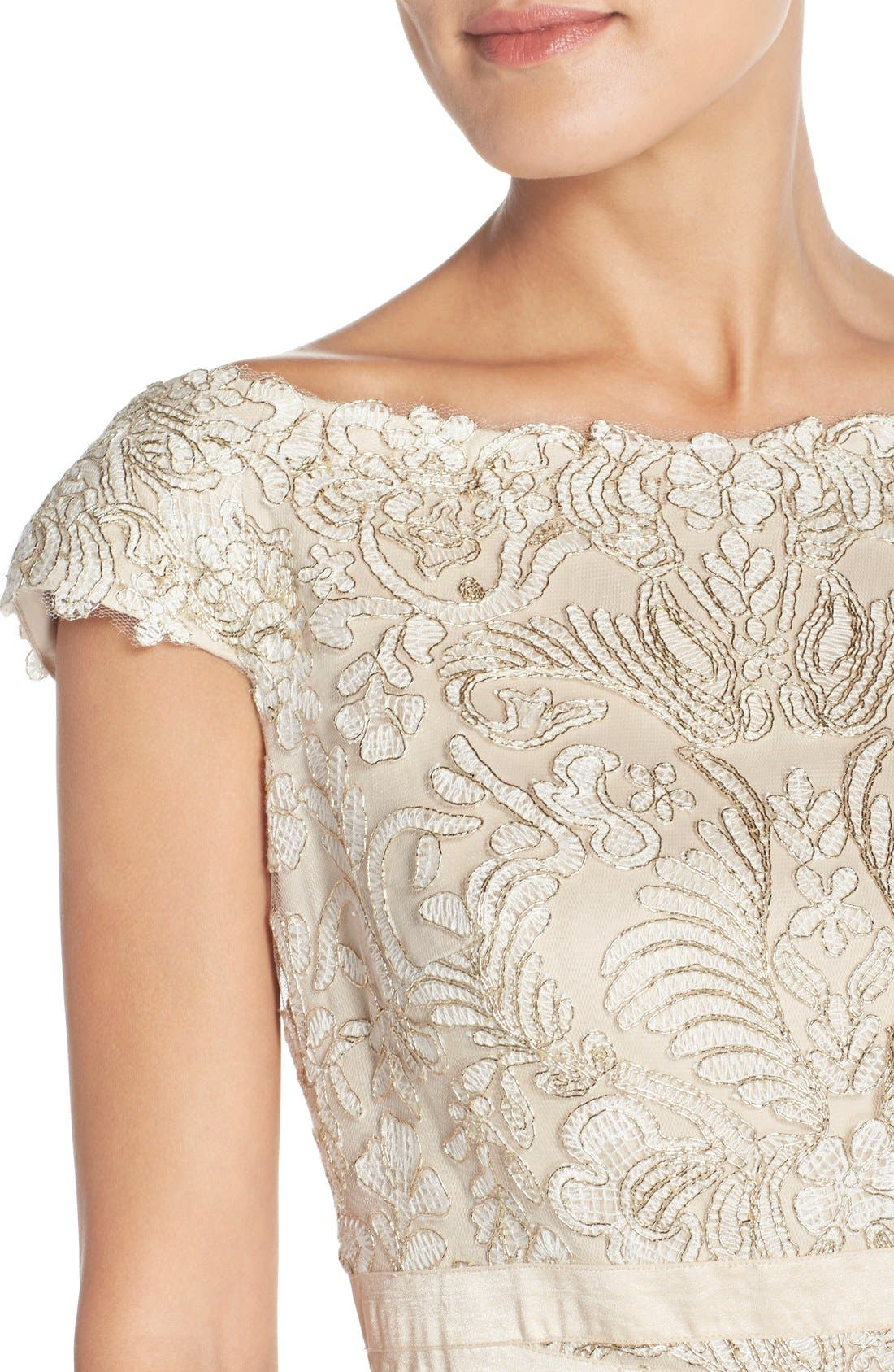 Alternate Image 5  - Tadashi Shoji Embroidered Off the Shoulder Mesh Sheath Dress (Regular & Petite)