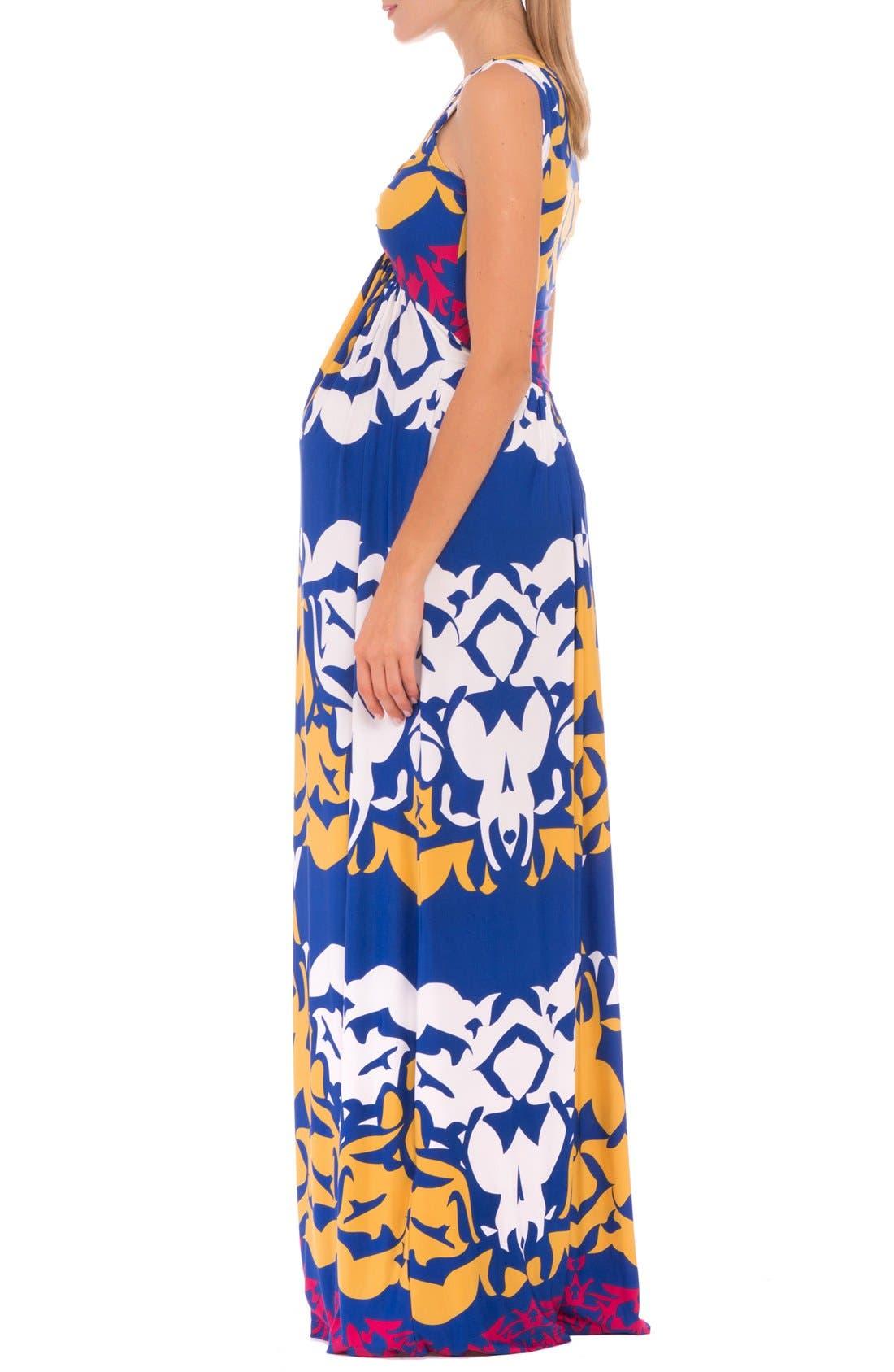 'Ellie' Print Maternity Maxi Dress,                             Alternate thumbnail 3, color,                             Blue Multi