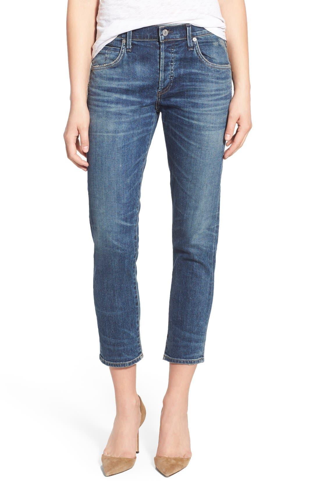 'Elsa' Crop Slim Jeans,                             Main thumbnail 1, color,                             Dossier