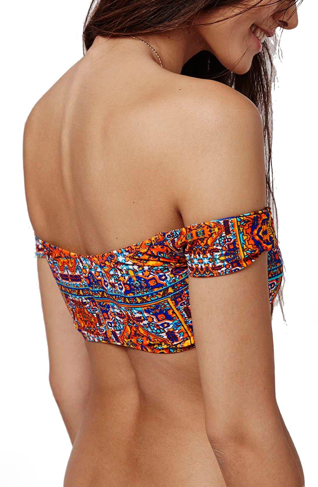 Alternate Image 3  - Topshop 'Festival Tile' Bardot Bikini Top