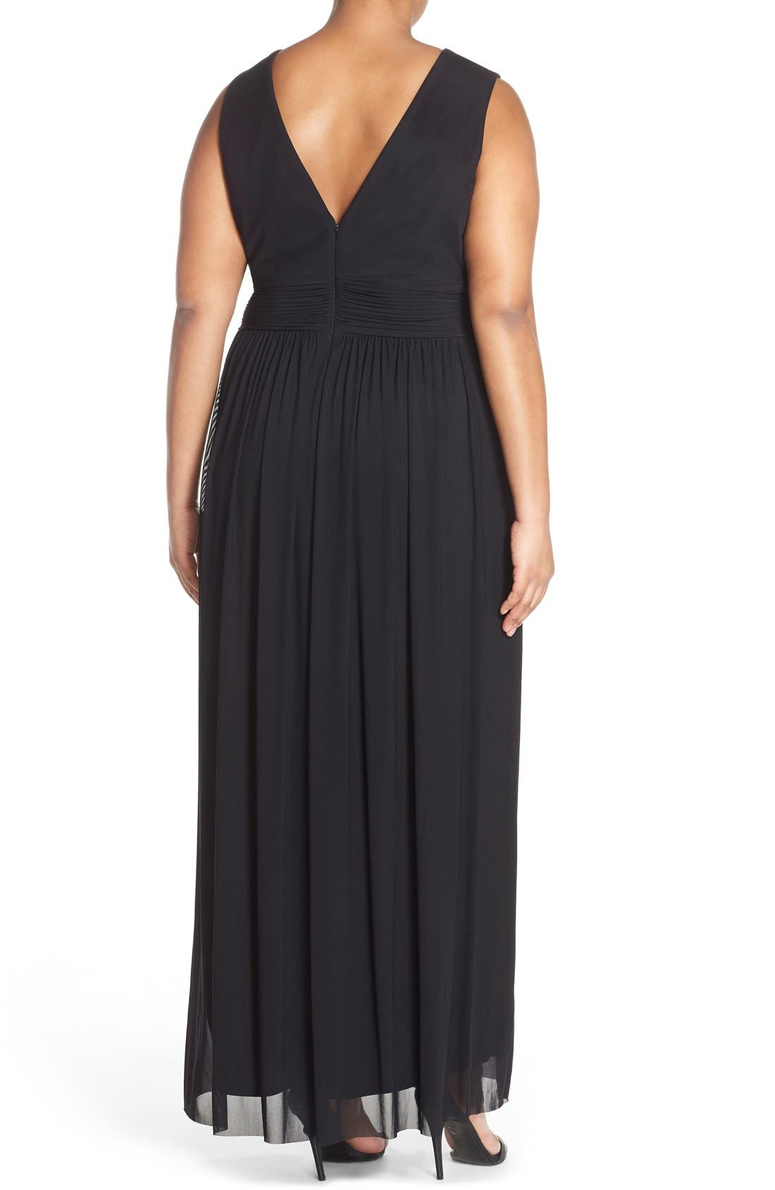 Alternate Image 2  - Marina Illusion Neck A-Line Gown (Plus Size)