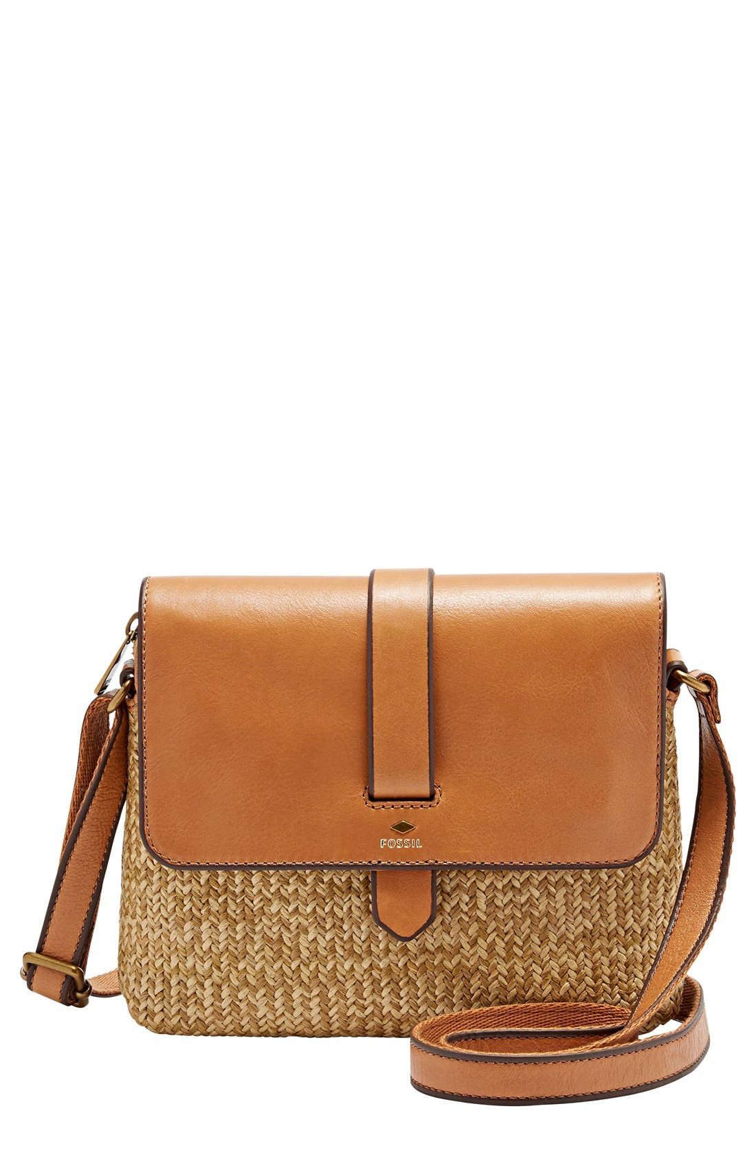 fossil small kinley leather straw crossbody bag