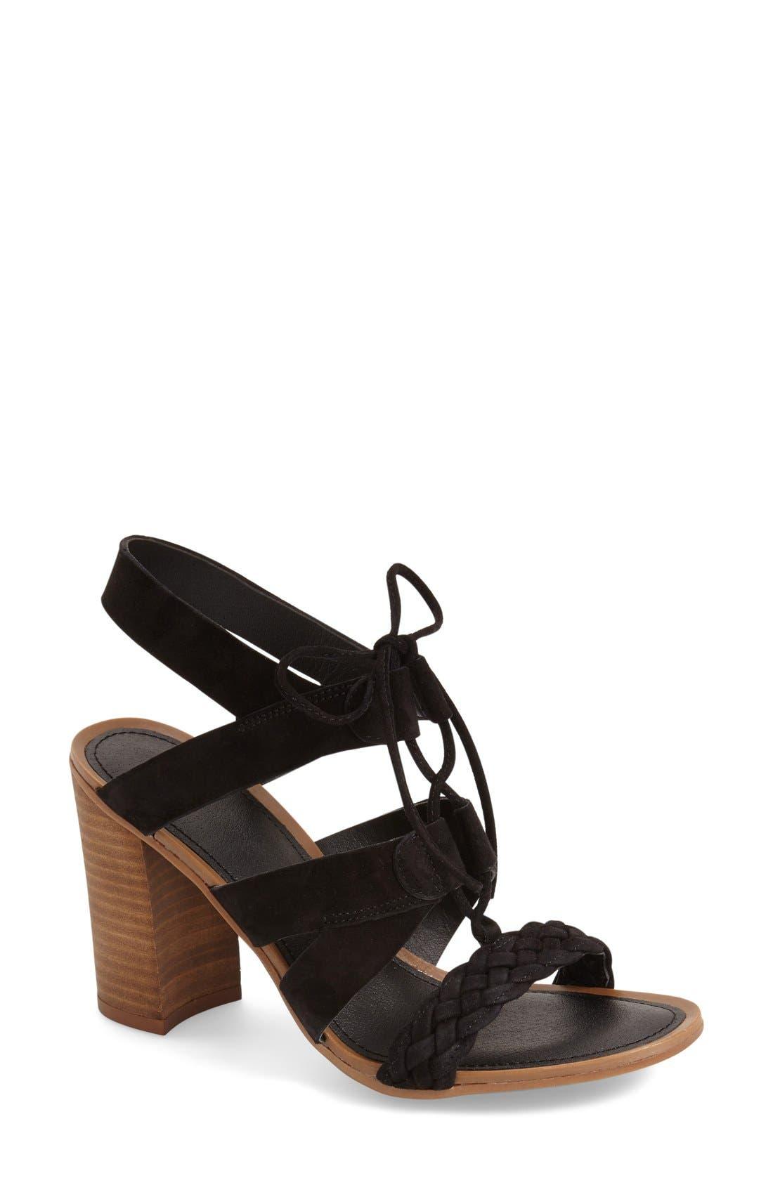 'Sierra' Block Heel Sandal,                             Main thumbnail 1, color,                             Black Kid Suede