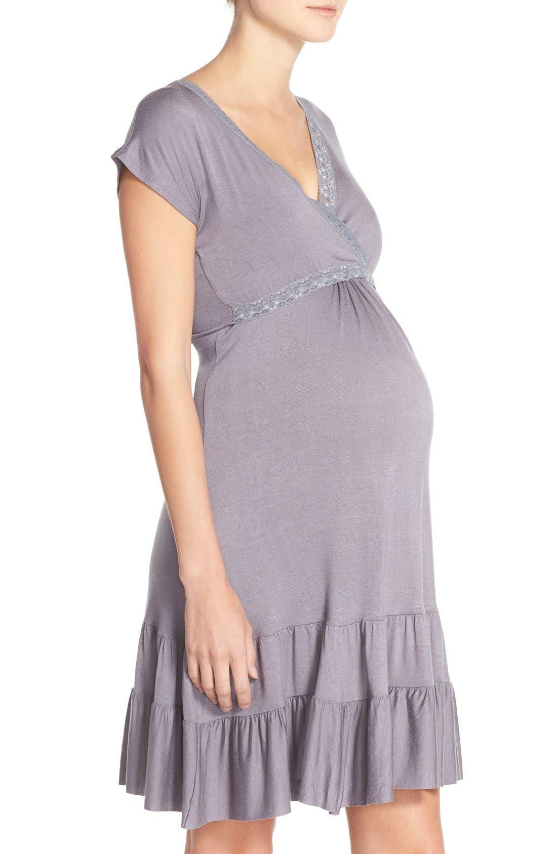 Ruffle Nursing Dress,                             Alternate thumbnail 3, color,                             Gunmetal