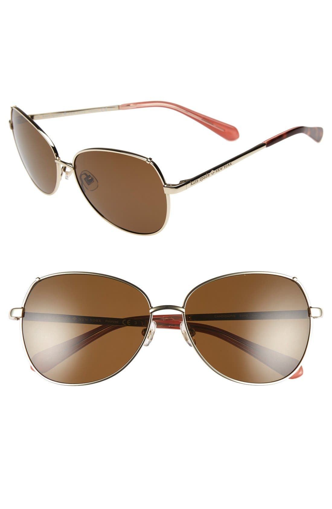 'candida' 57mm polarized aviator sunglasses,                             Main thumbnail 1, color,                             Light Gold