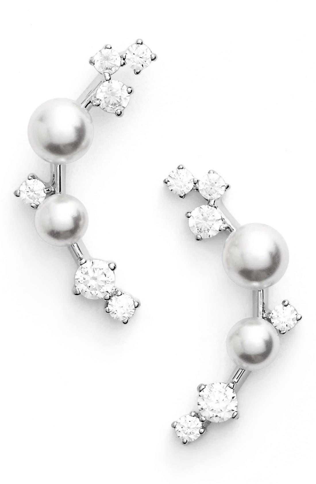 Alternate Image 1 Selected - Nadri Faux Pearl Ear Crawlers