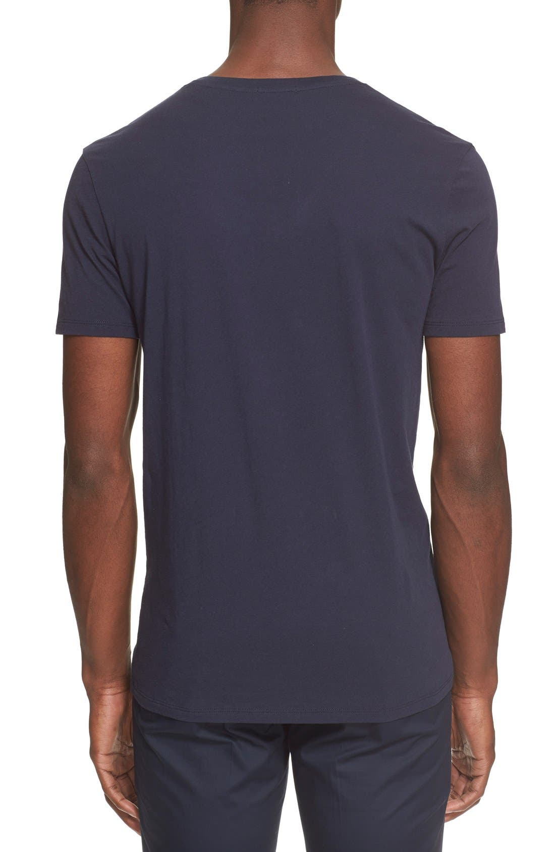 Cotton Jersey V-Neck T-Shirt,                             Alternate thumbnail 2, color,                             Navy