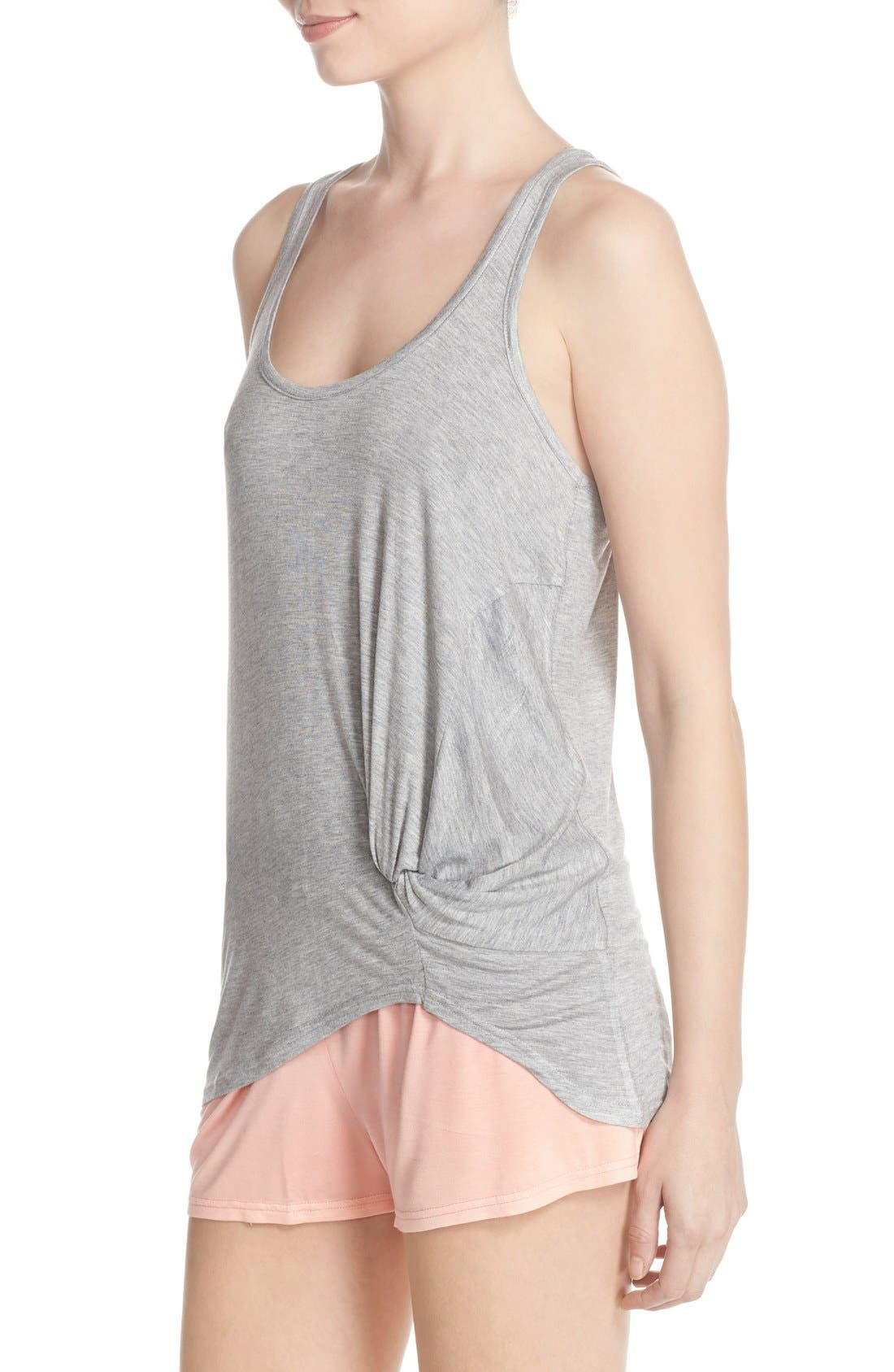Knotted Tank & Pajama Shorts,                             Alternate thumbnail 3, color,                             Light Grey/ Peach