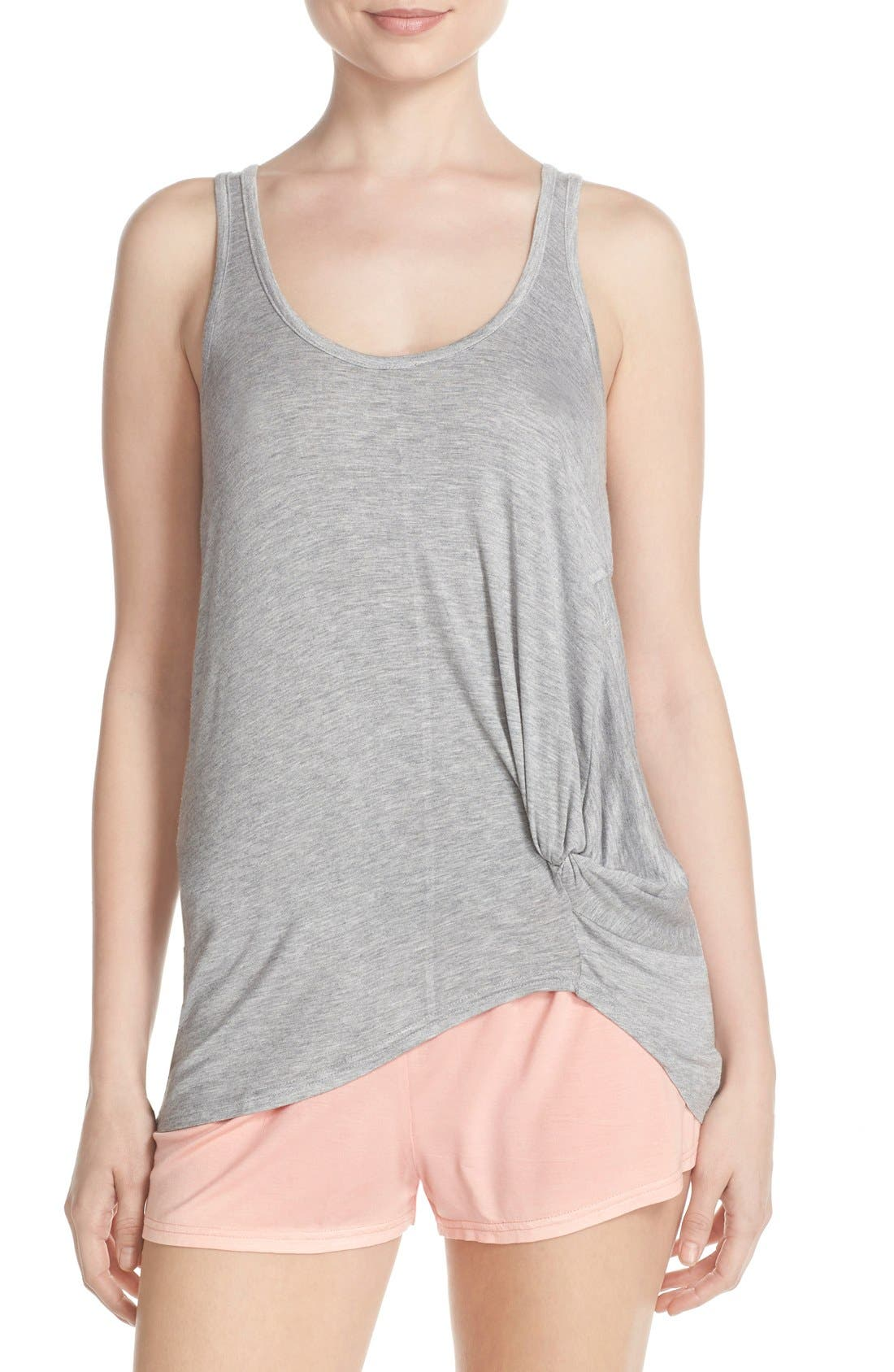 Knotted Tank & Pajama Shorts,                         Main,                         color, Light Grey/ Peach
