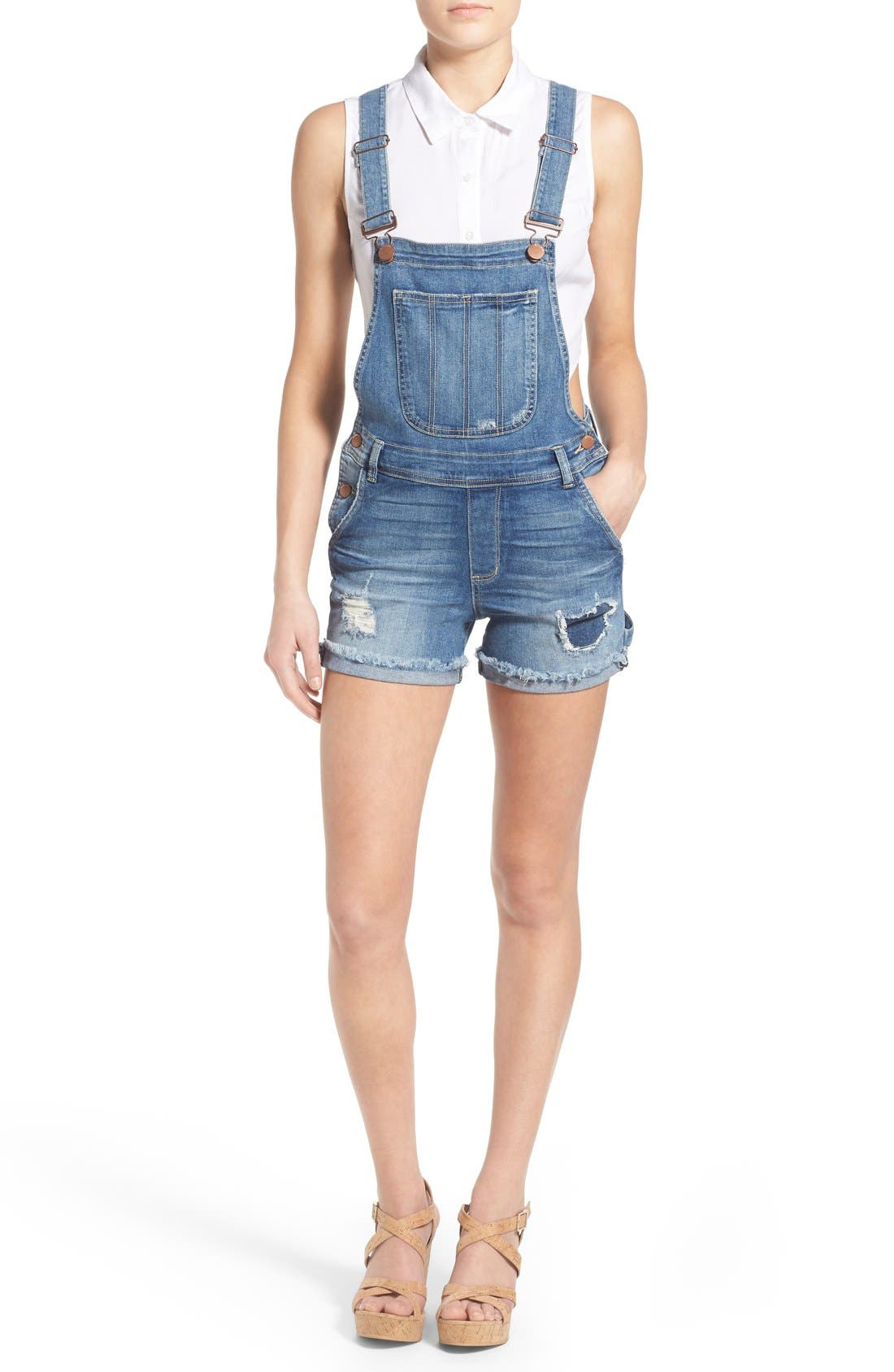 Alternate Image 1 Selected - STS Blue Distressed Short Overalls (Stinson)