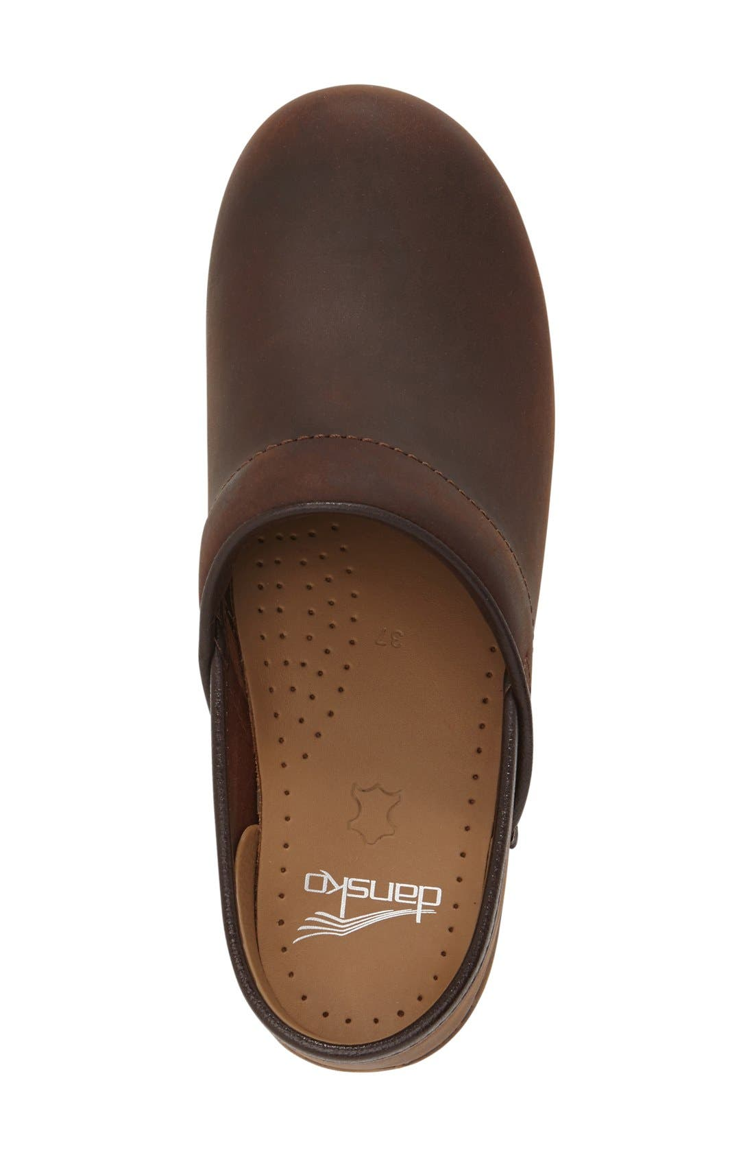 'Professional' Oiled Leather Clog,                             Alternate thumbnail 3, color,                             Antique Brown Oiled Leather