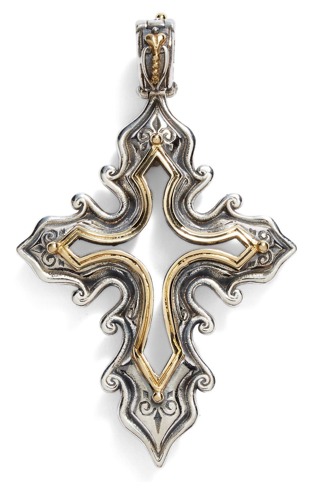 'Hebe' Openwork Cross Pendant,                             Main thumbnail 1, color,                             Silver/ Gold