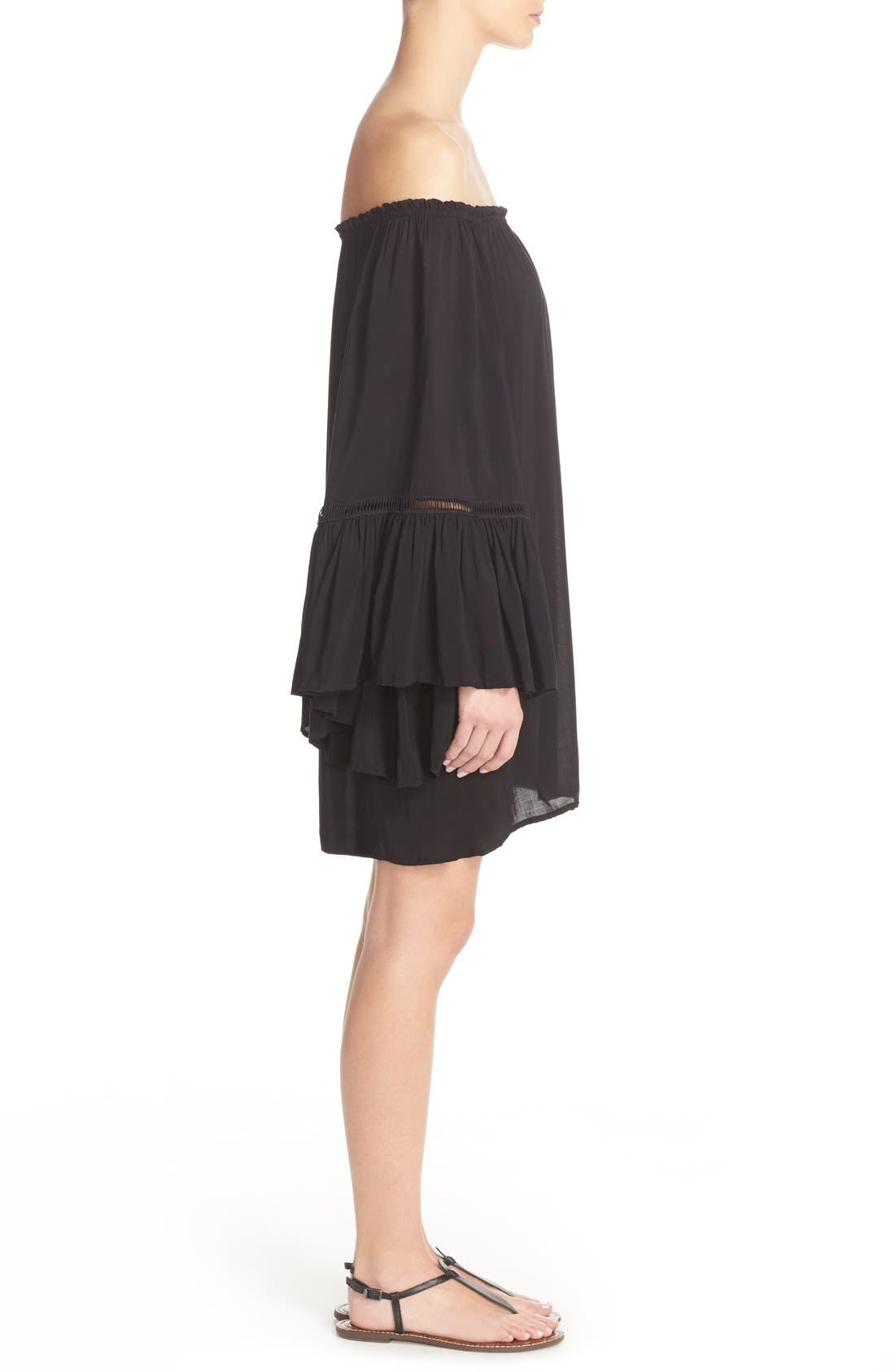 Alternate Image 3  - Elan Off the Shoulder Bell Sleeve Cover-Up Tunic