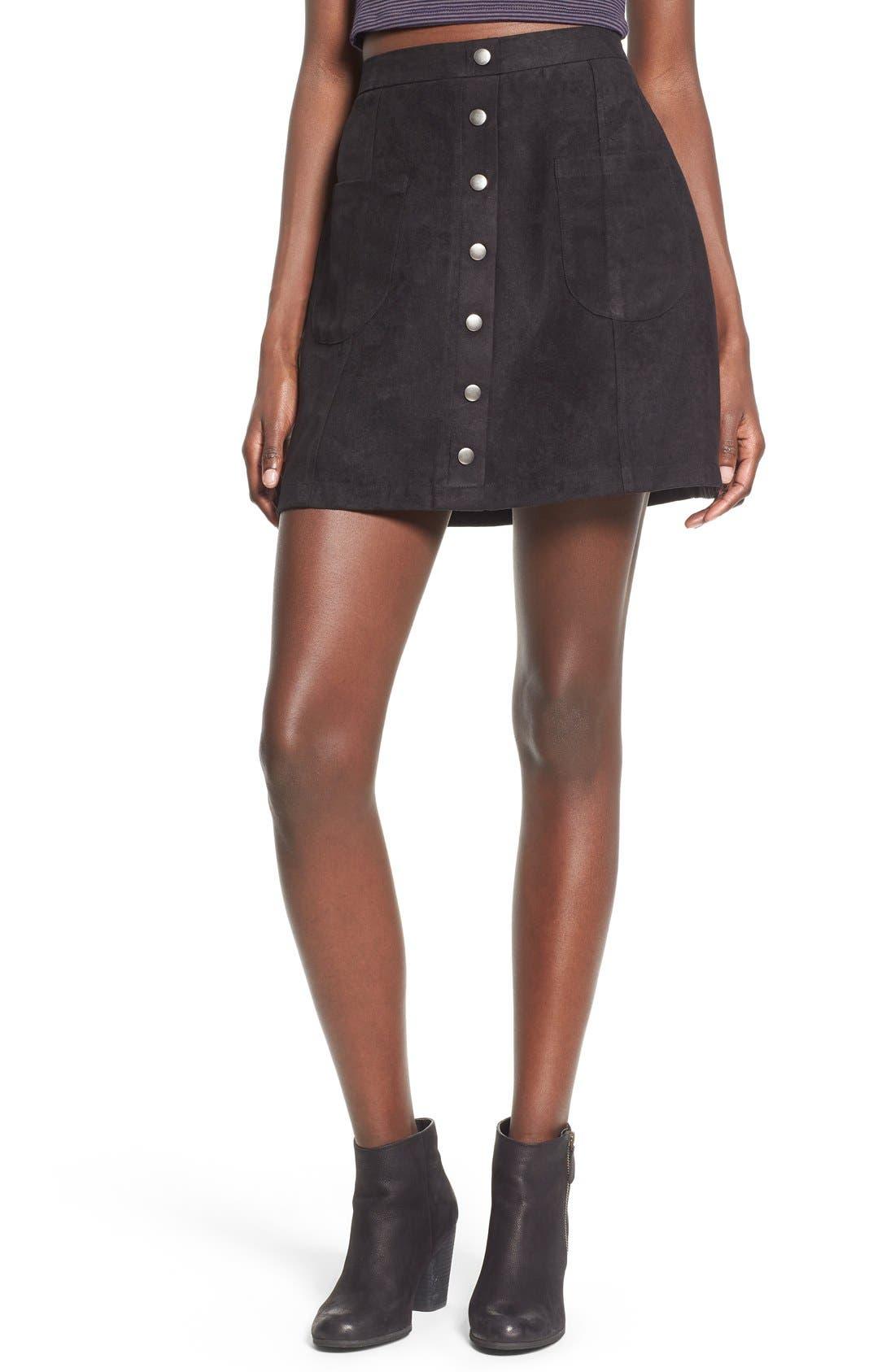 Button Front Faux Suede Skirt,                             Main thumbnail 1, color,                             Black