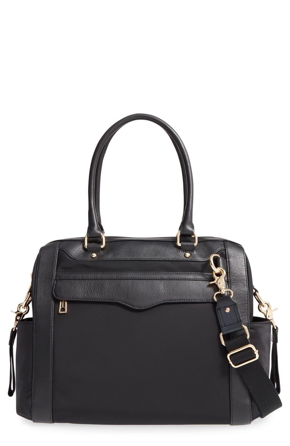 Knocked Up Leather Diaper Bag,                         Main,                         color, Black/ Light Gold Hrdwr