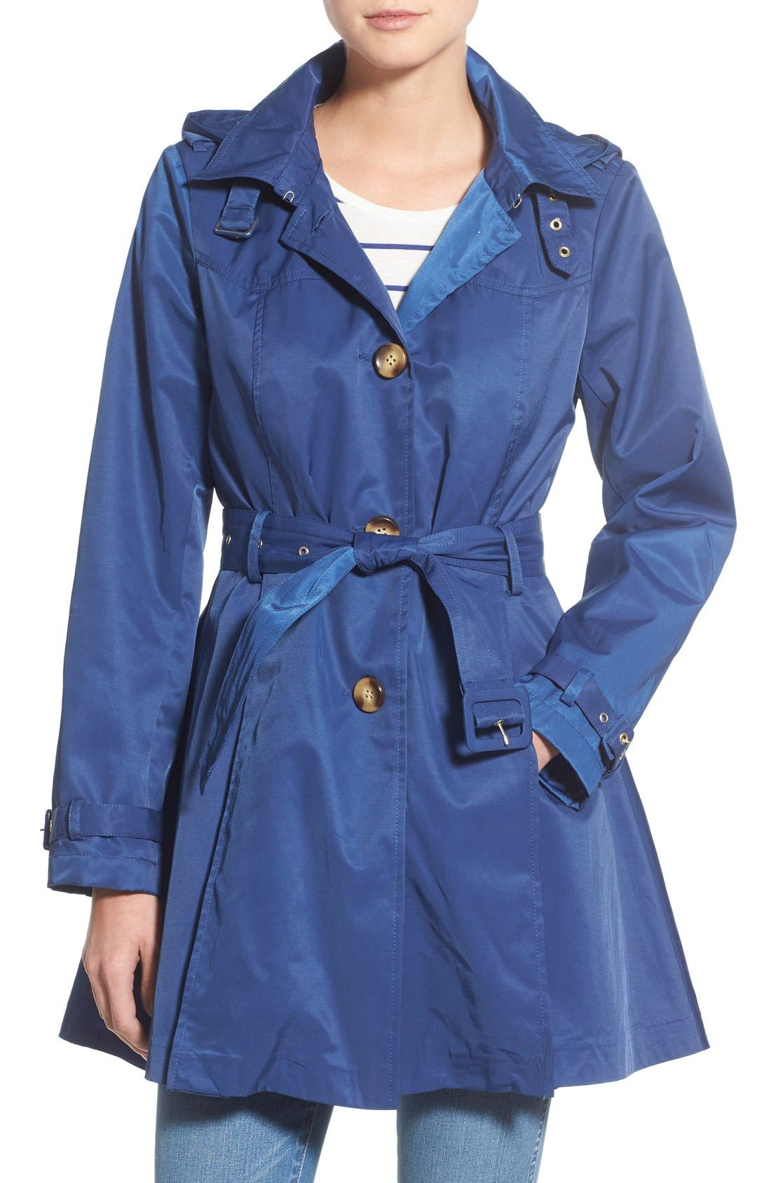 Alternate Image 1 Selected - Steve Madden Trench Coat with Detachable Hood
