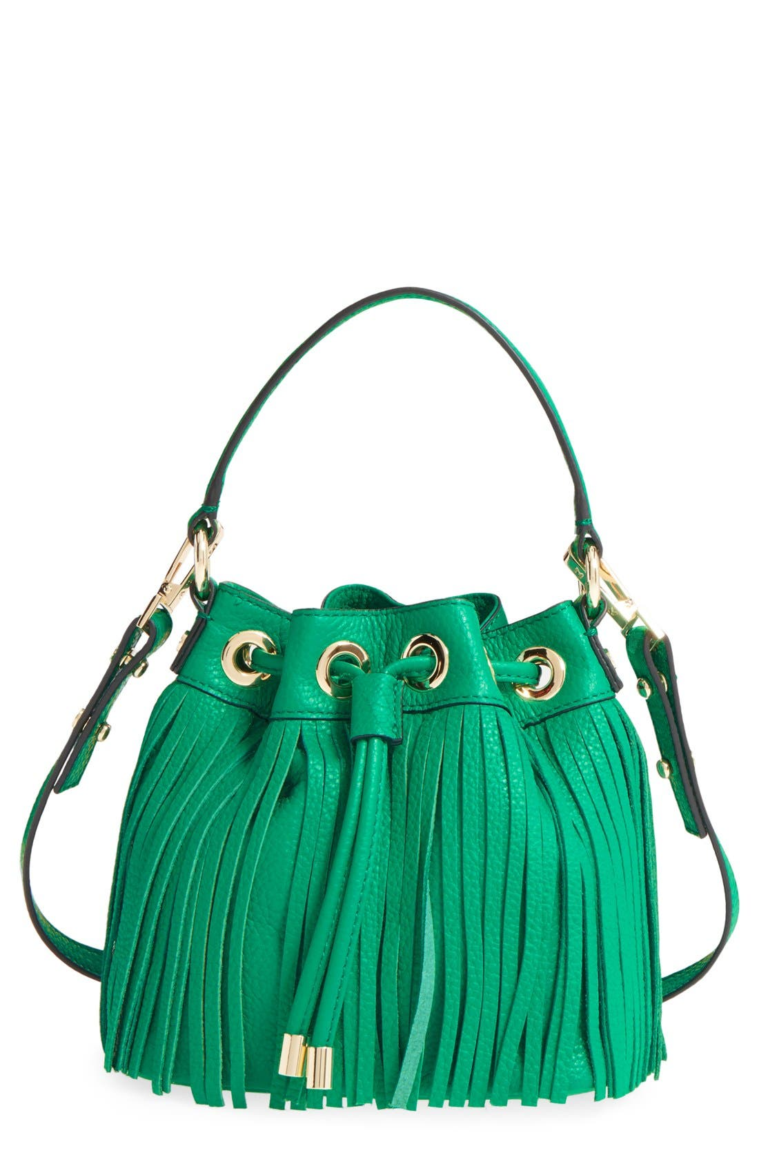 Fringed Leather Bucket Bag,                         Main,                         color, Jade