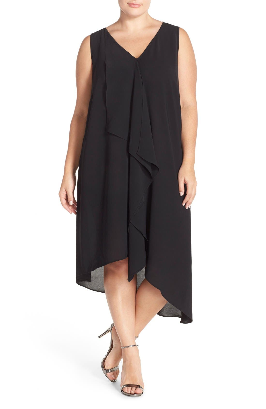 Adrianna Papell Sleeveless Asymmetrical Front Drape Crepe Shift Dress (Plus Size)