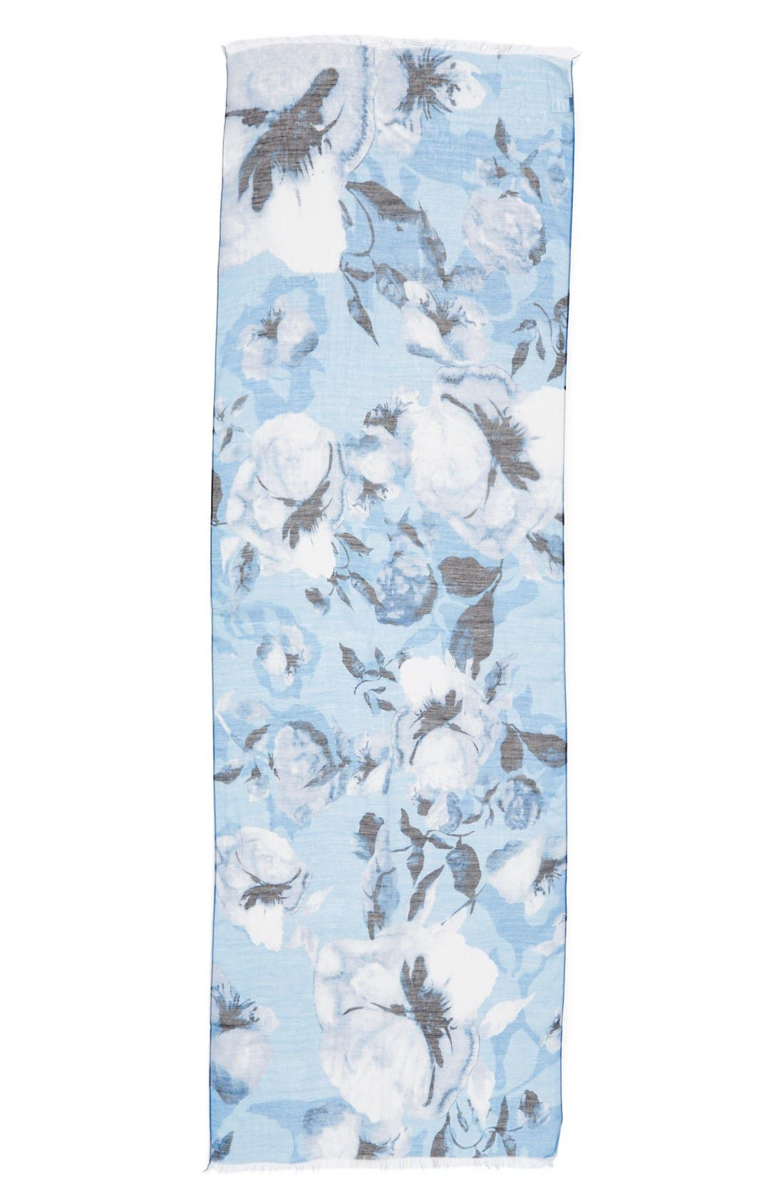 Floral Print Modal & Silk Scarf,                             Alternate thumbnail 2, color,                             Cornflower