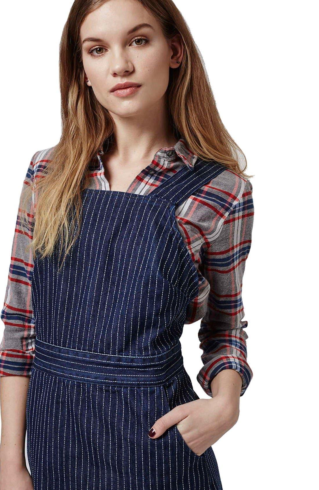 Alternate Image 4  - Topshop Pinstripe Denim Pinafore Dress