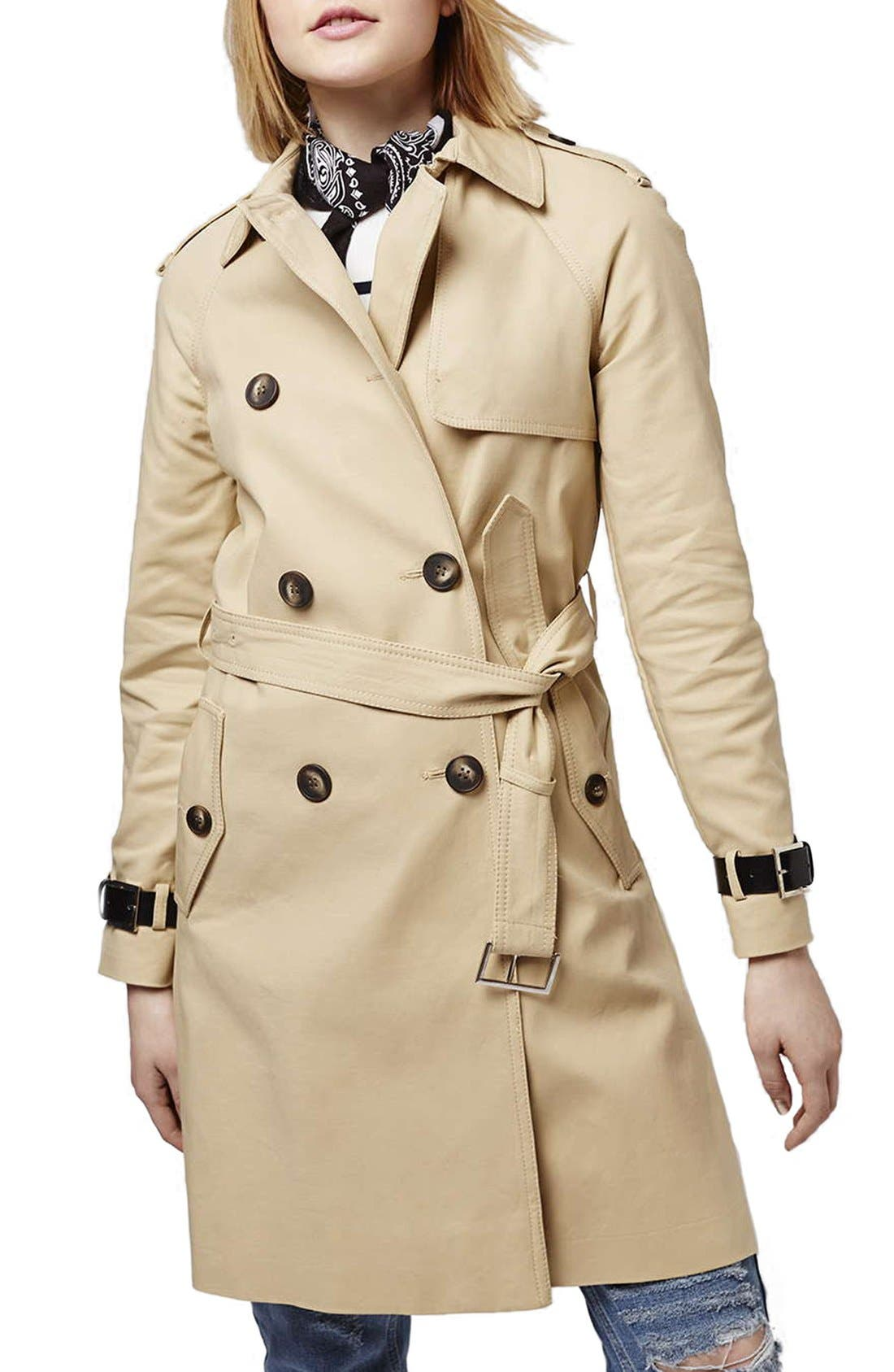 Military Trench Coat,                         Main,                         color, Cream