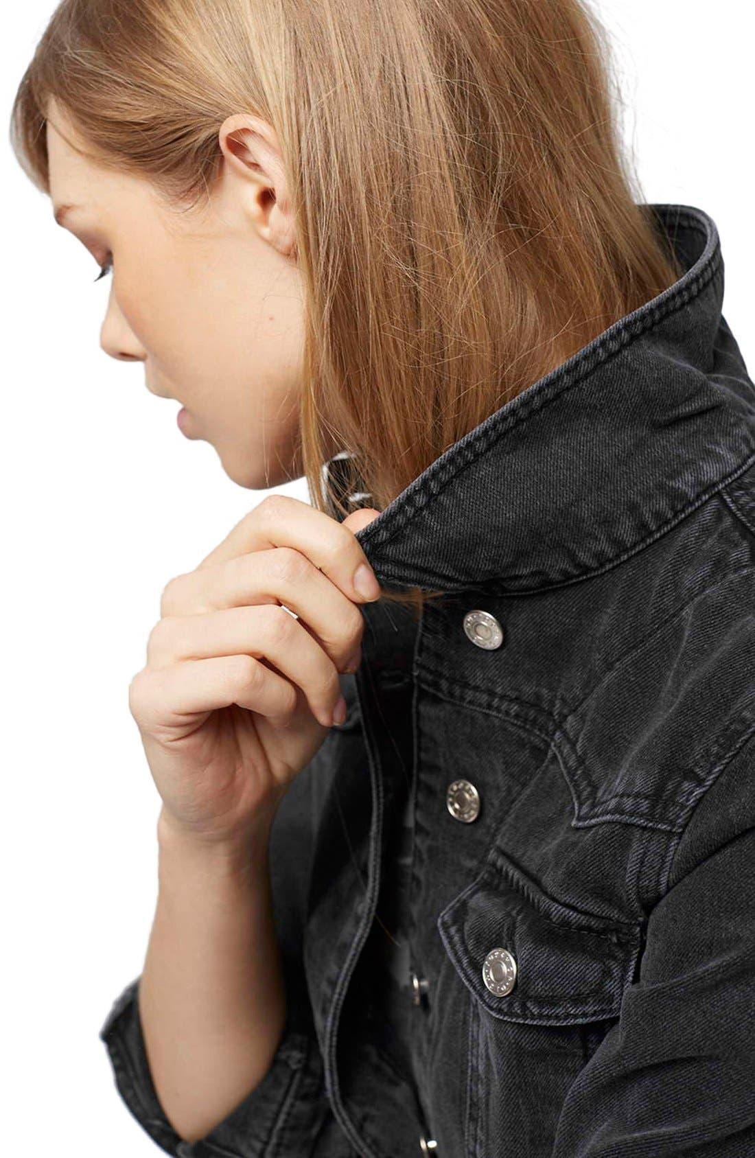 Alternate Image 5  - Topshop Moto 'Tilda' Washed Denim Jacket (Black)