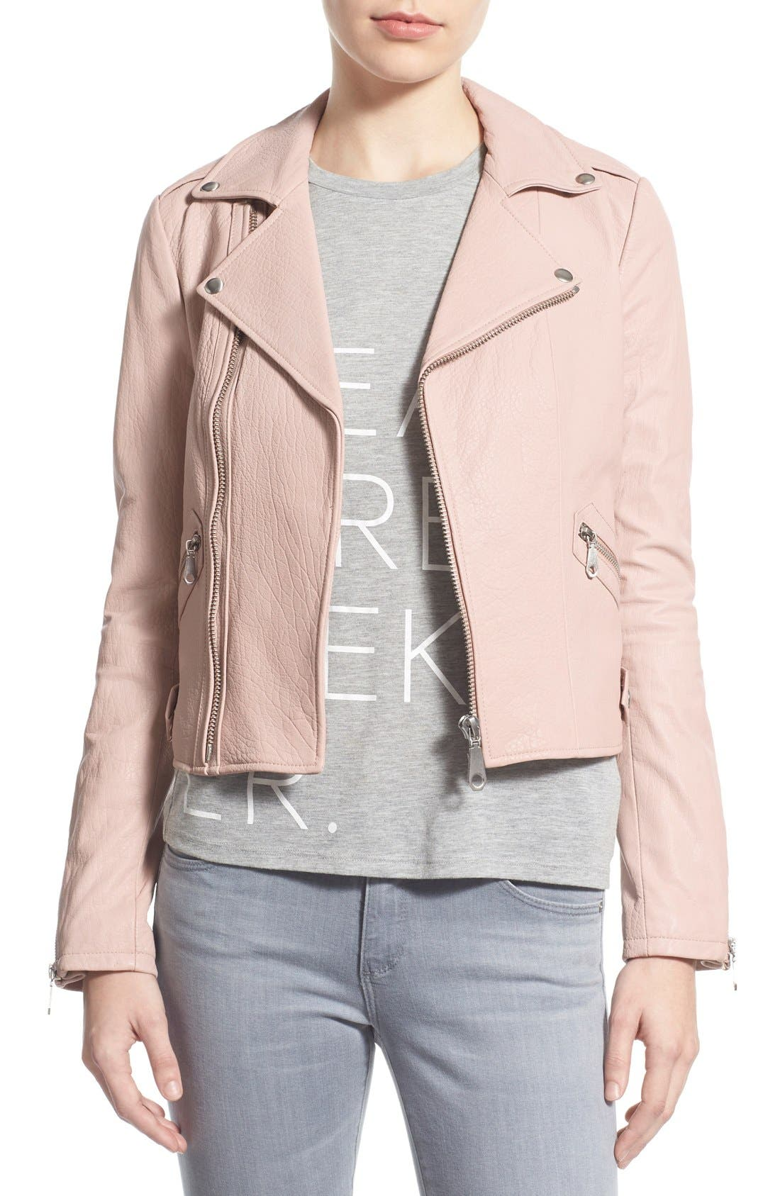 Pebble Leather Jacket,                         Main,                         color, Nude Pink