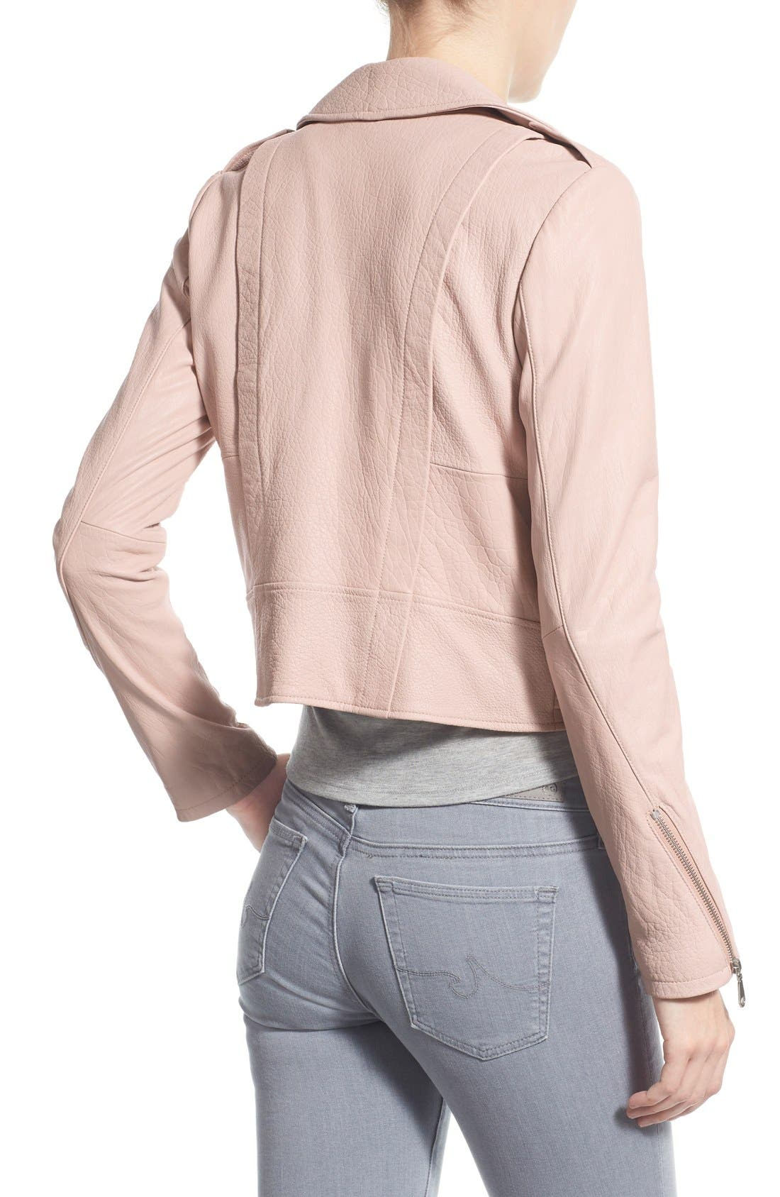 Pebble Leather Jacket,                             Alternate thumbnail 2, color,                             Nude Pink