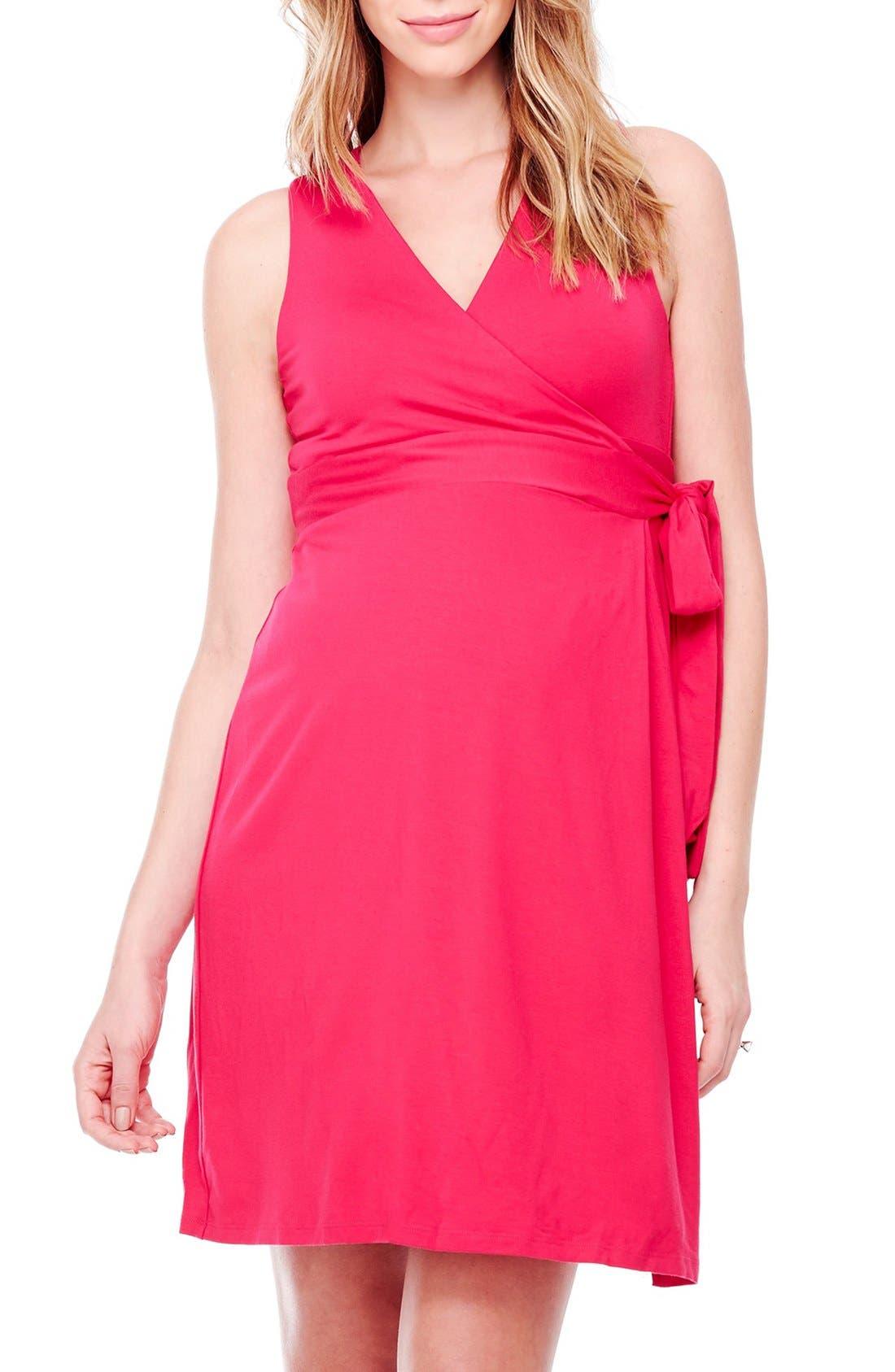 Sleeveless Wrap Maternity Dress,                         Main,                         color, Berry