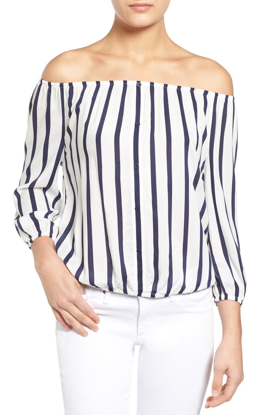 Main Image - cupcakes and cashmere 'Eleni' Stripe Off the Shoulder Top