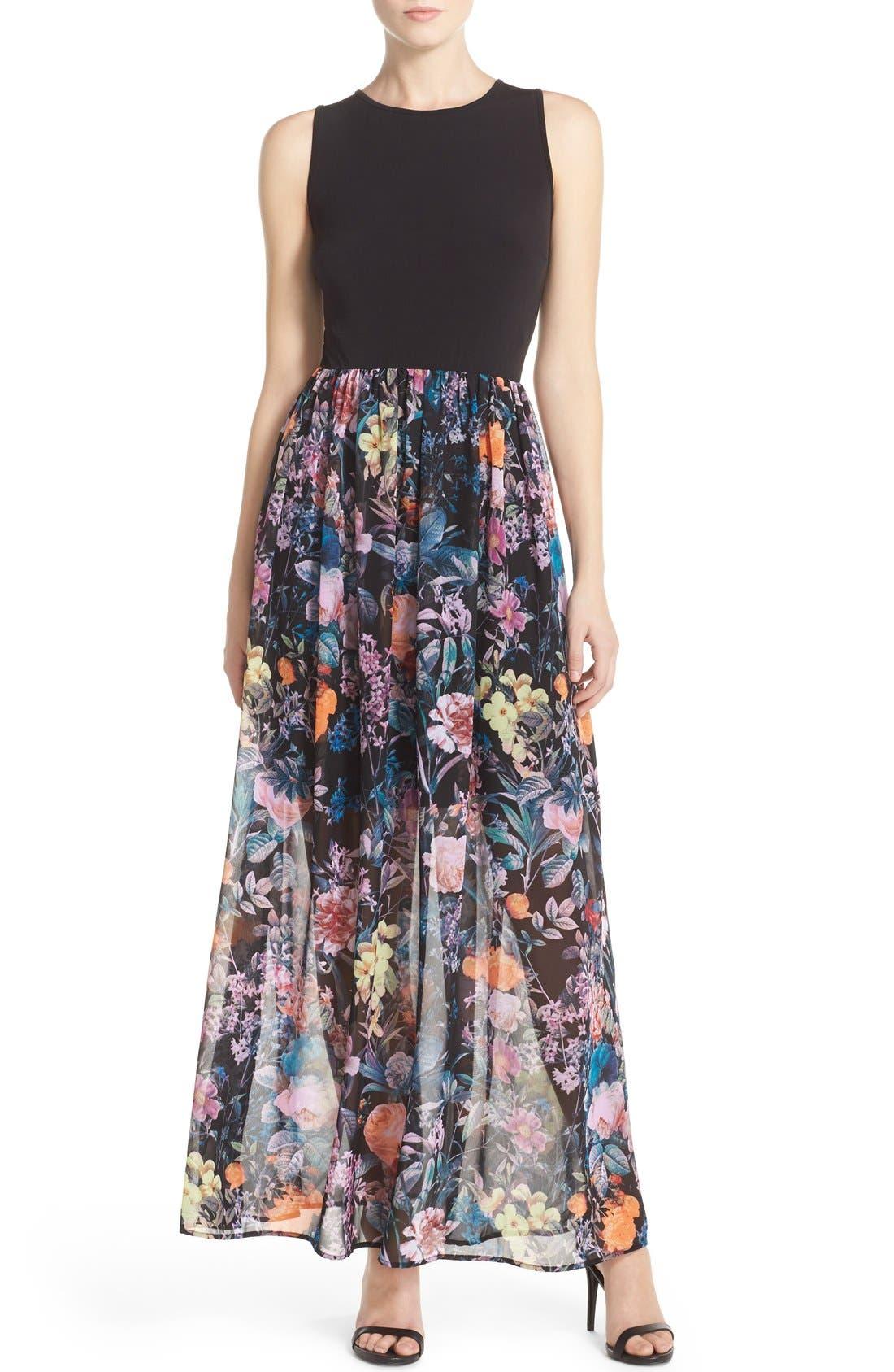 Alternate Image 1 Selected - ECI Jersey & Chiffon Maxi Dress